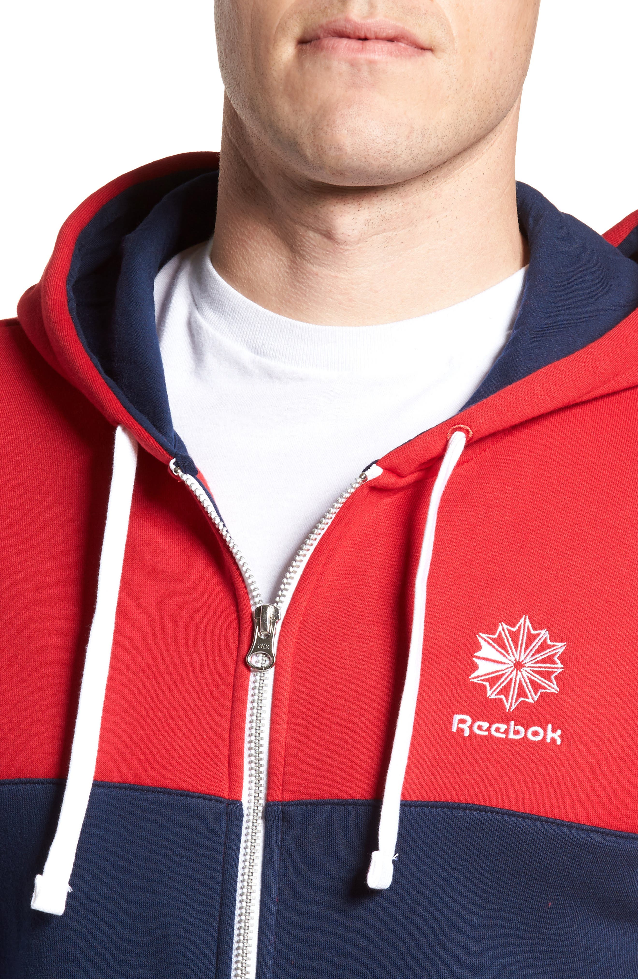 Classics Foundation Clockblock Zip Hoodie,                             Alternate thumbnail 4, color,                             Excellent Red/ Collegiate Navy