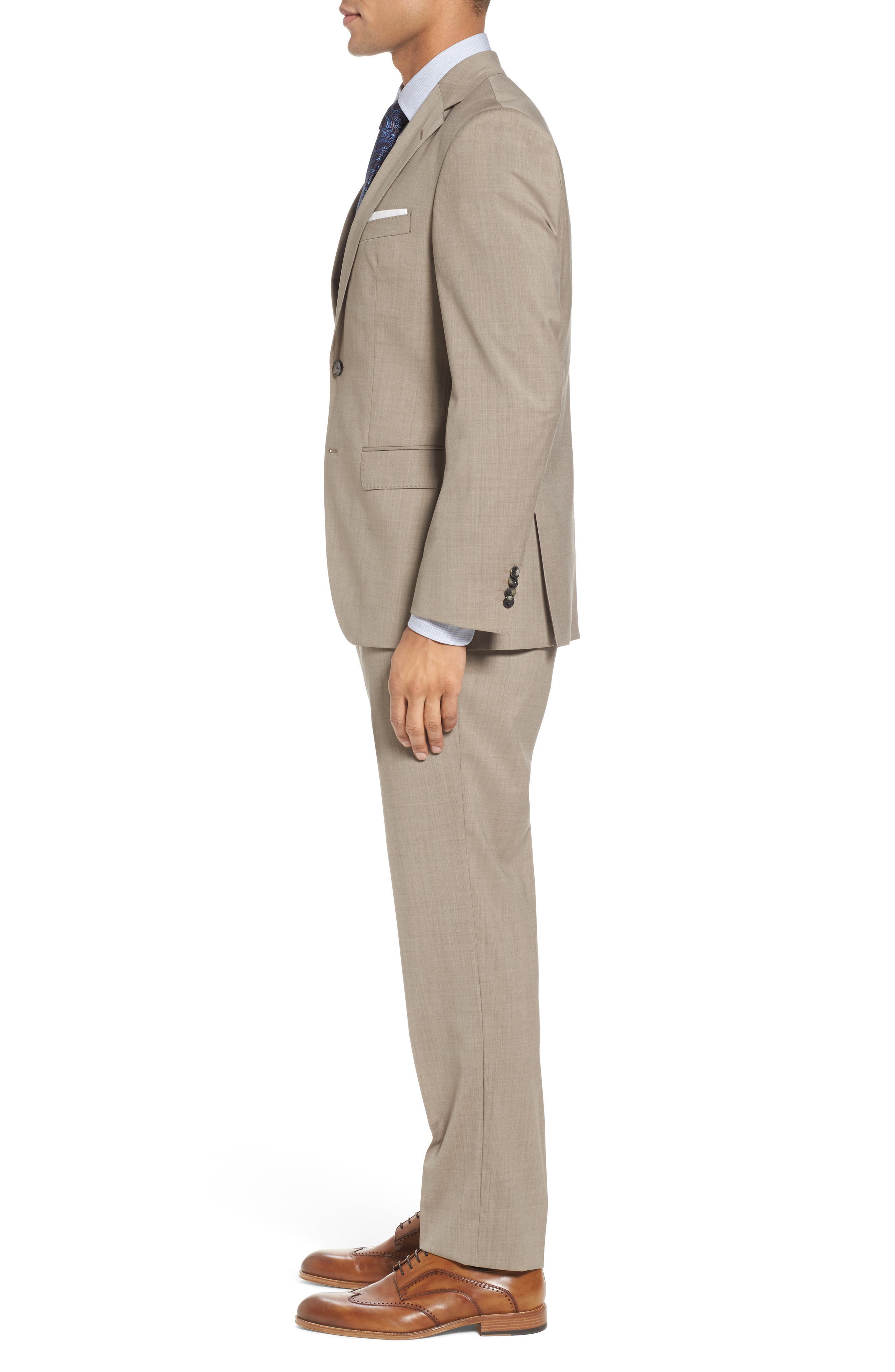 Johnstons/Lenon Classic Fit Solid Wool Suit,                             Alternate thumbnail 3, color,                             Medium Beige