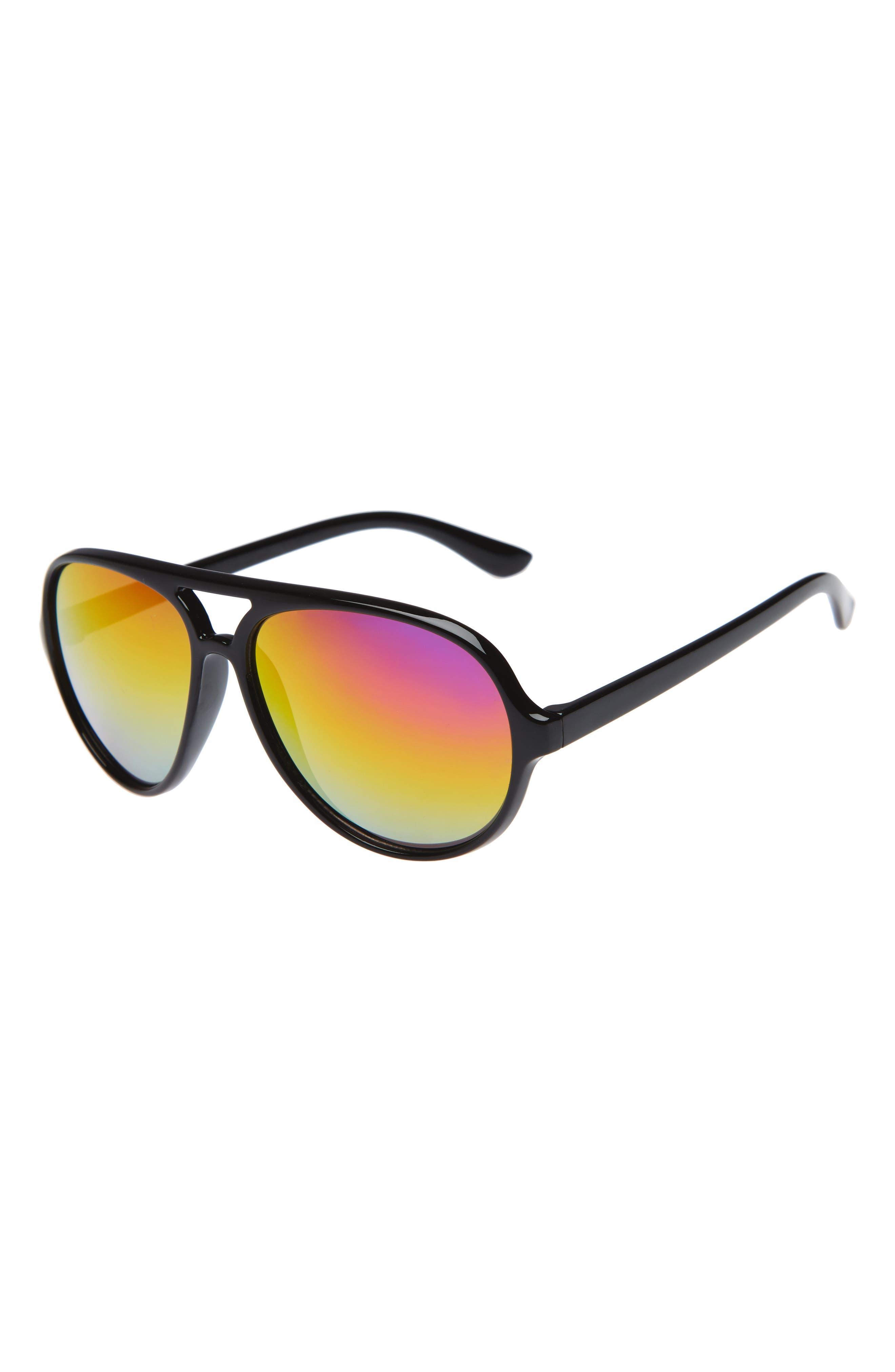 Mirrored Aviator Sunglasses,                         Main,                         color, Black