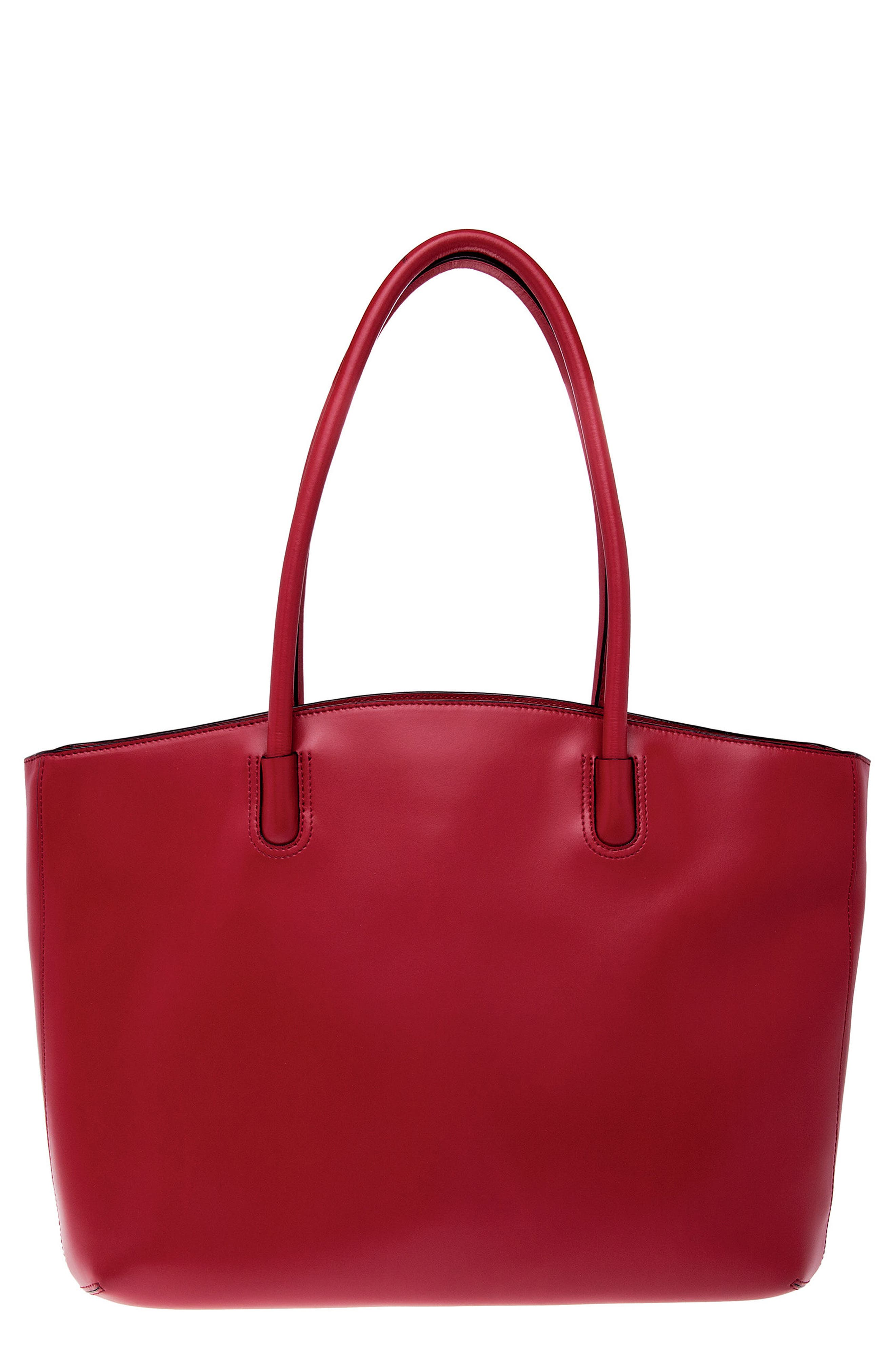 Audrey Under Lock & Key - Milano RFID Leather Tote,                             Main thumbnail 1, color,                             Red