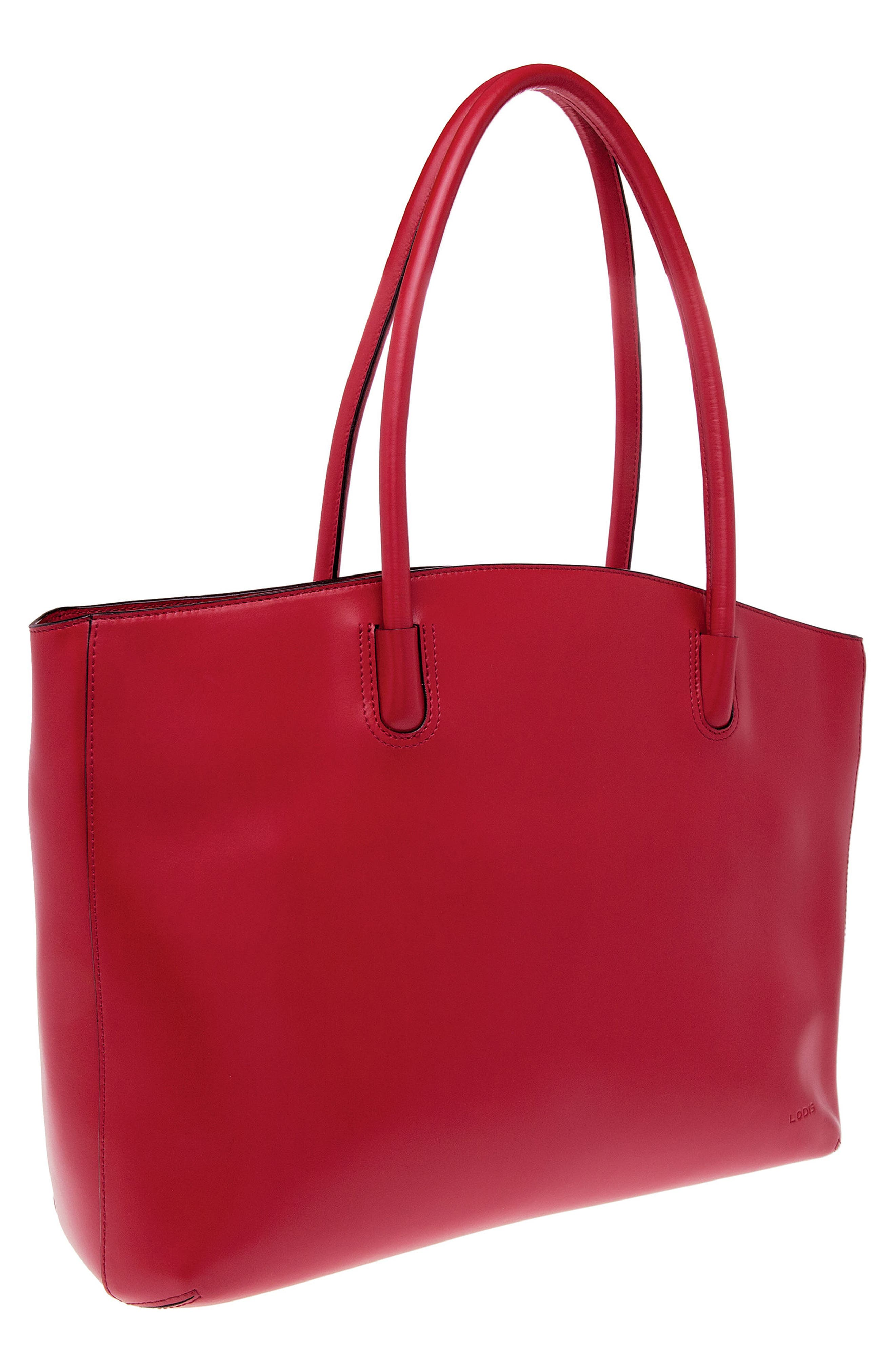 Audrey Under Lock & Key - Milano RFID Leather Tote,                             Alternate thumbnail 4, color,                             Red