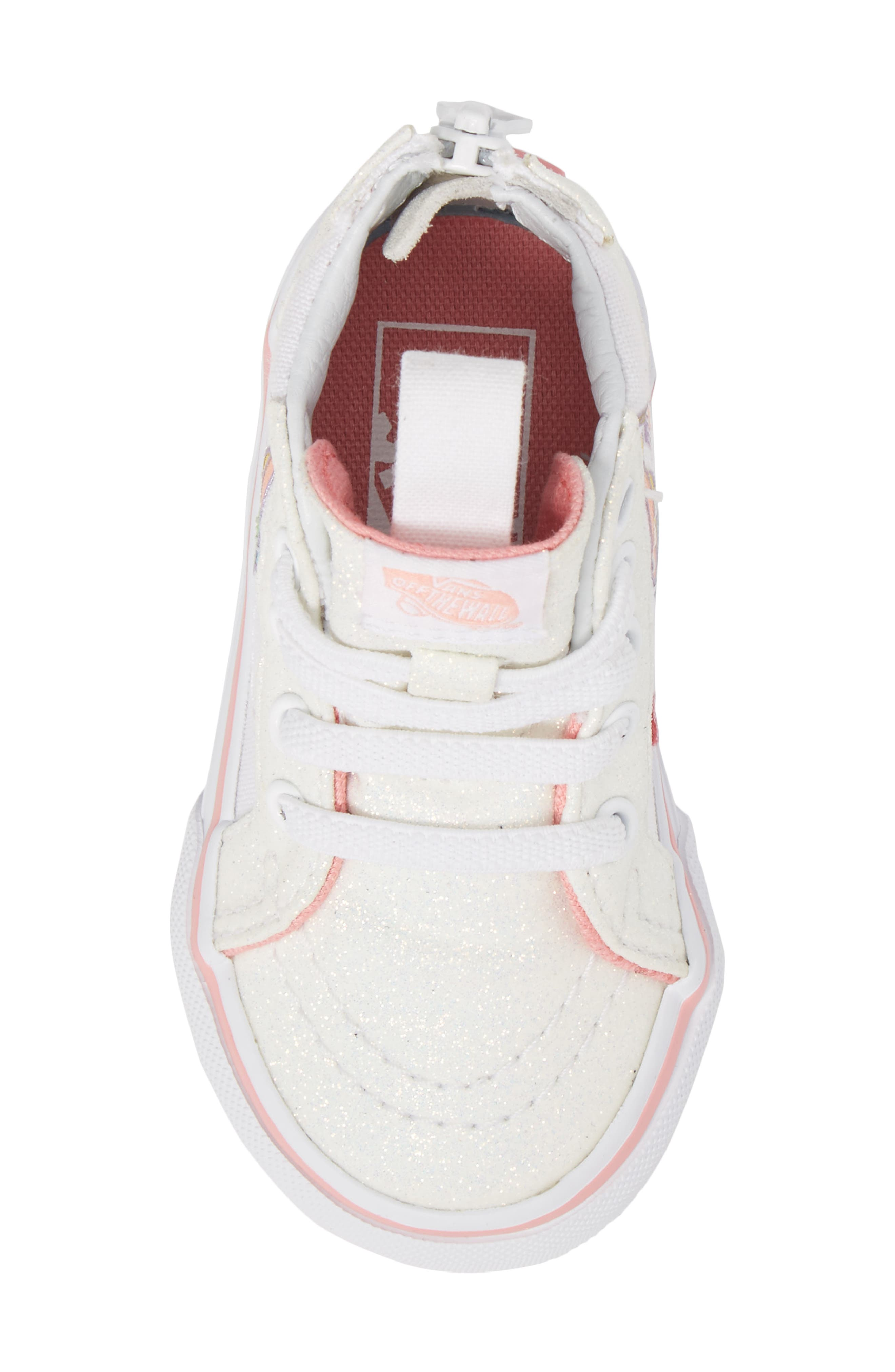 Alternate Image 5  - Vans SK8-Hi Zip Glitter Unicorn Sneaker (Baby, Walker & Toddler)