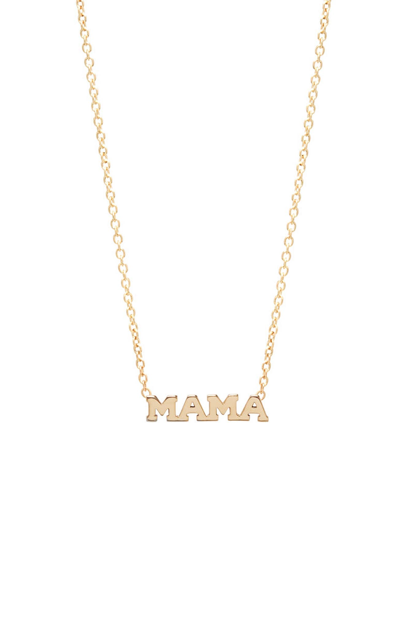 Itty Bitty Mama Pendant Necklace,                         Main,                         color, Yellow Gold