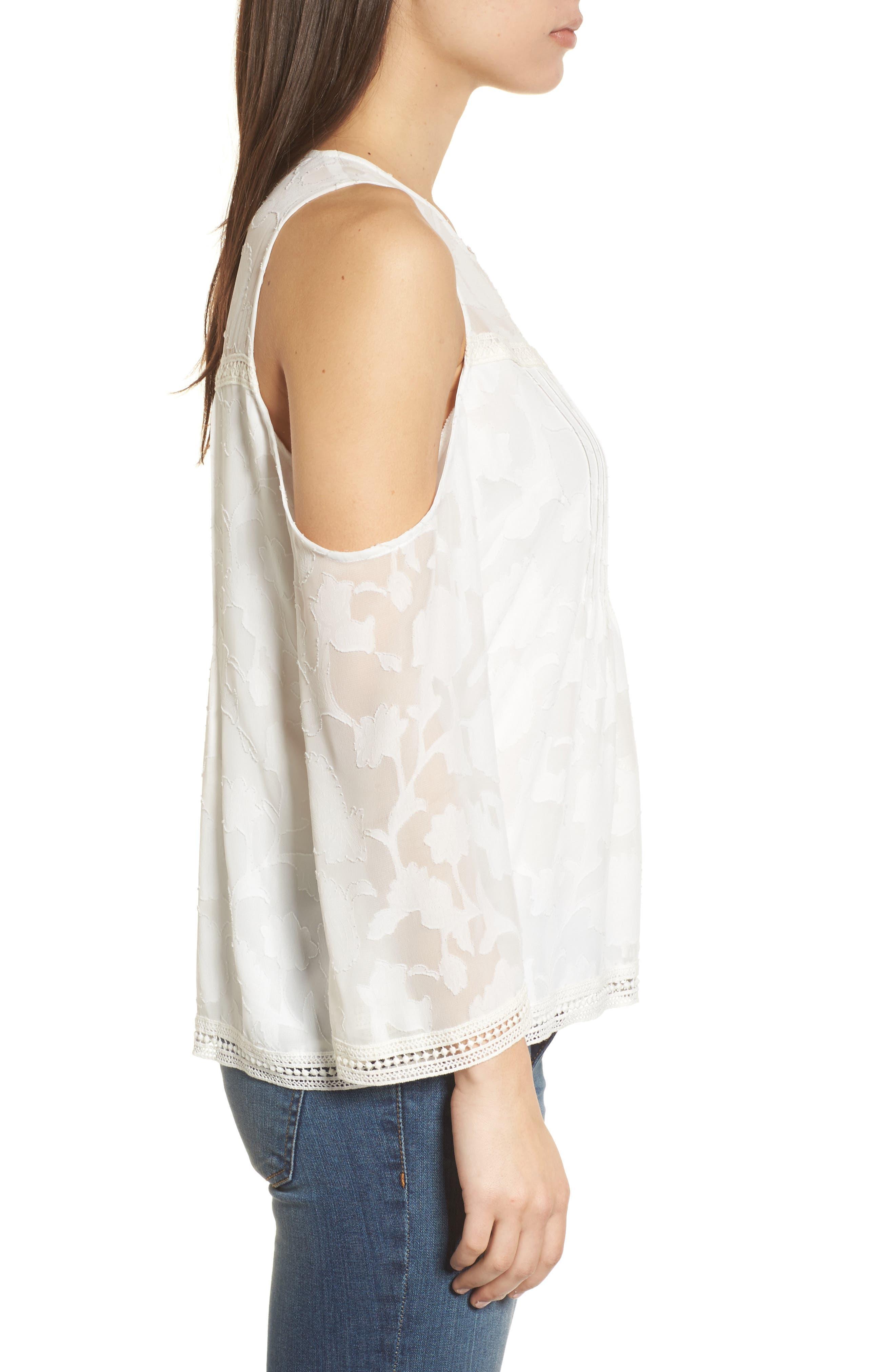 Cold Shoulder Jacquard Shirt,                             Alternate thumbnail 3, color,                             Lucky White