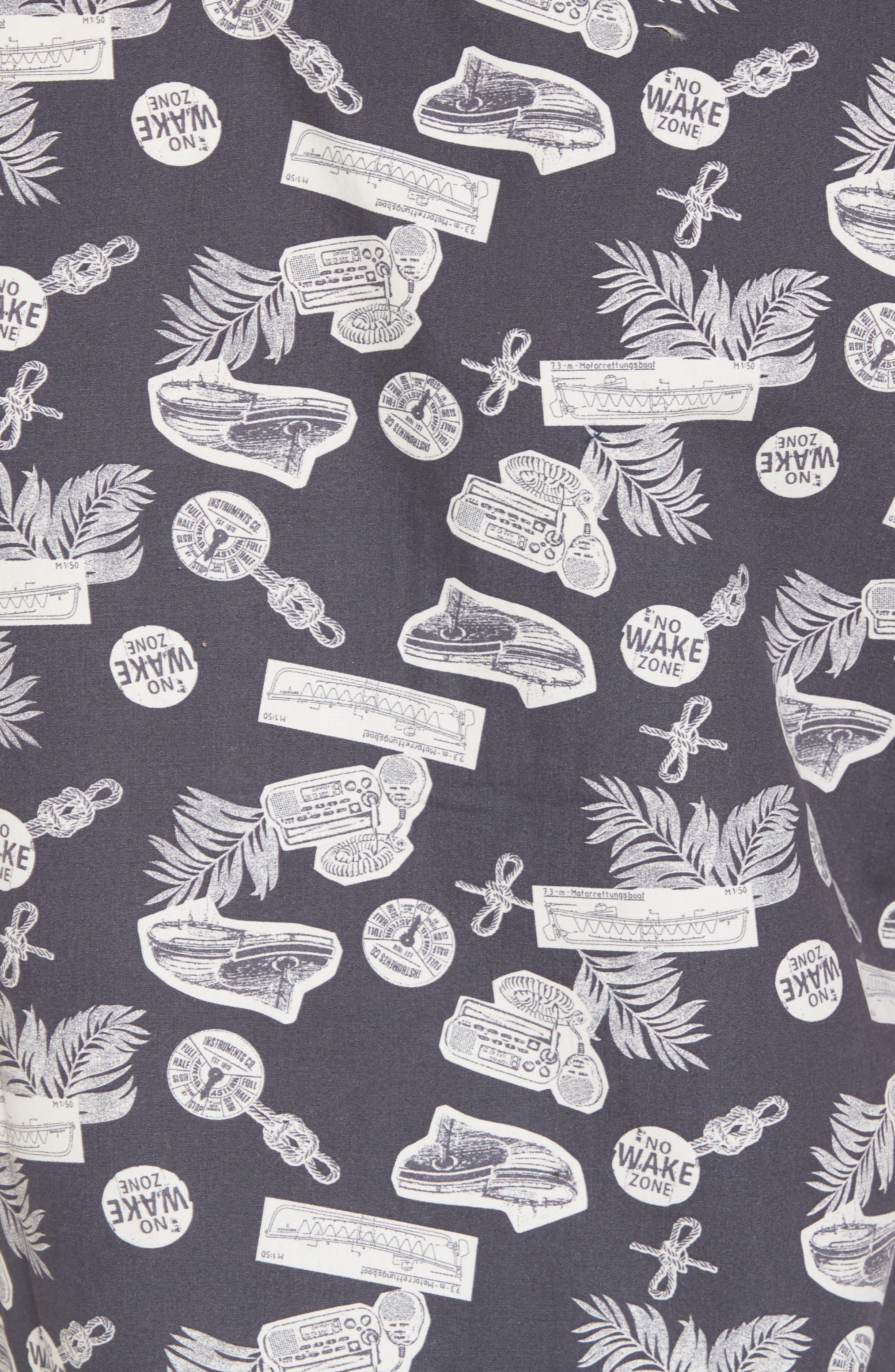 Short Sleeve Print Poplin Shirt,                             Alternate thumbnail 5, color,                             Grey Onyx Boat Print