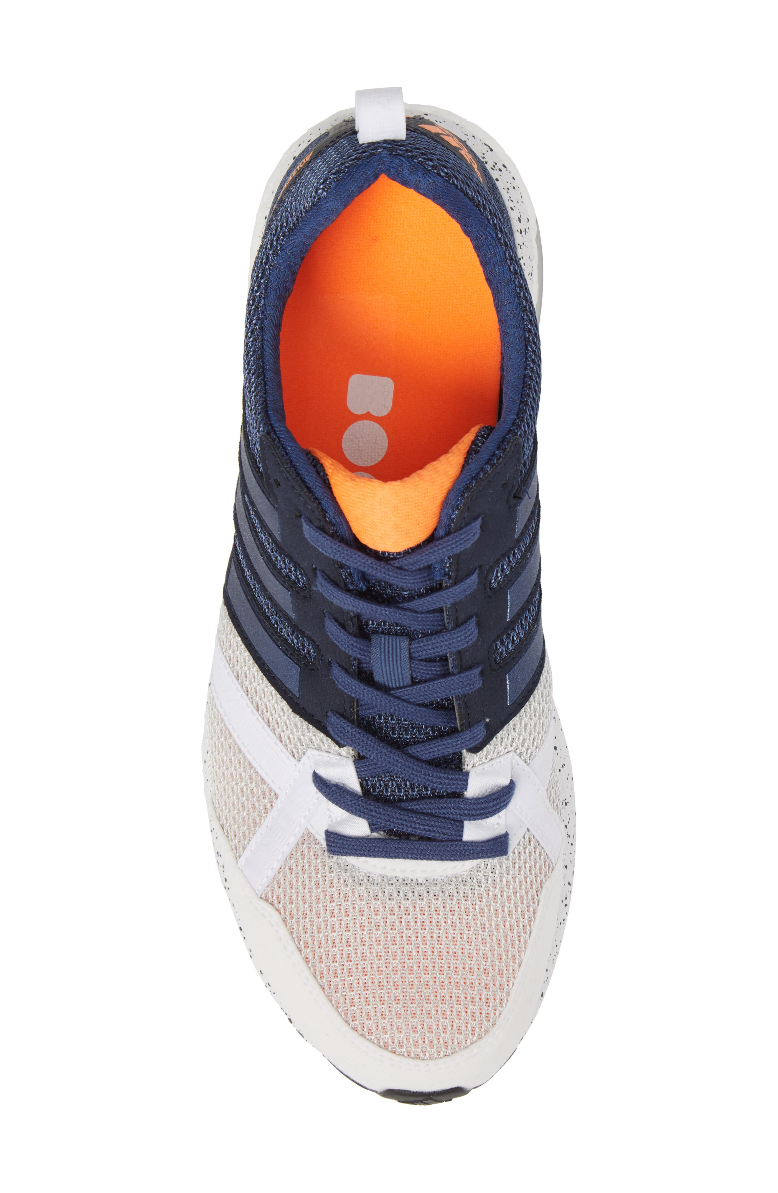 Adizero Tempo 9 M Running Shoe,                             Alternate thumbnail 5, color,                             White/ Indigo/ Core Black