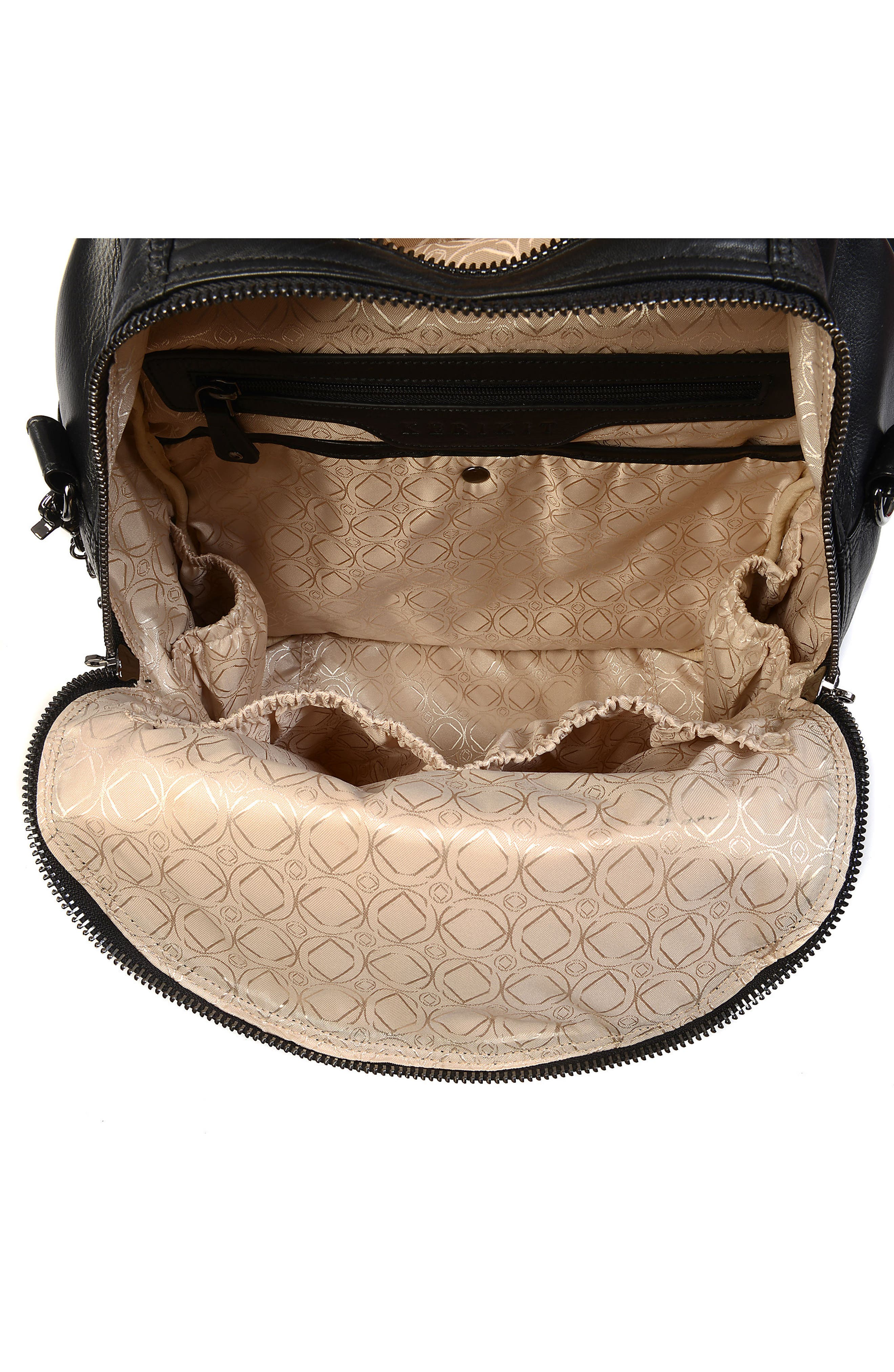 Joy XL Leather Backpack,                             Alternate thumbnail 7, color,                             Black