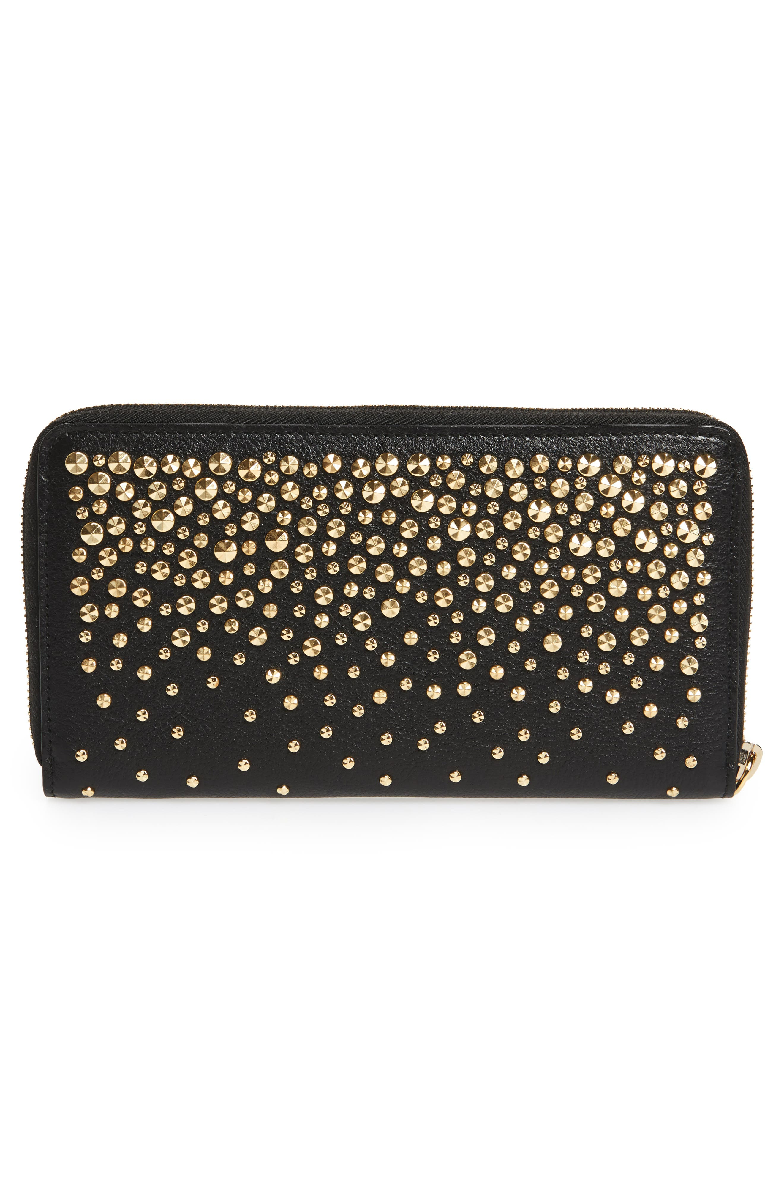 Studded Leather Continental Wallet,                             Alternate thumbnail 4, color,                             Black