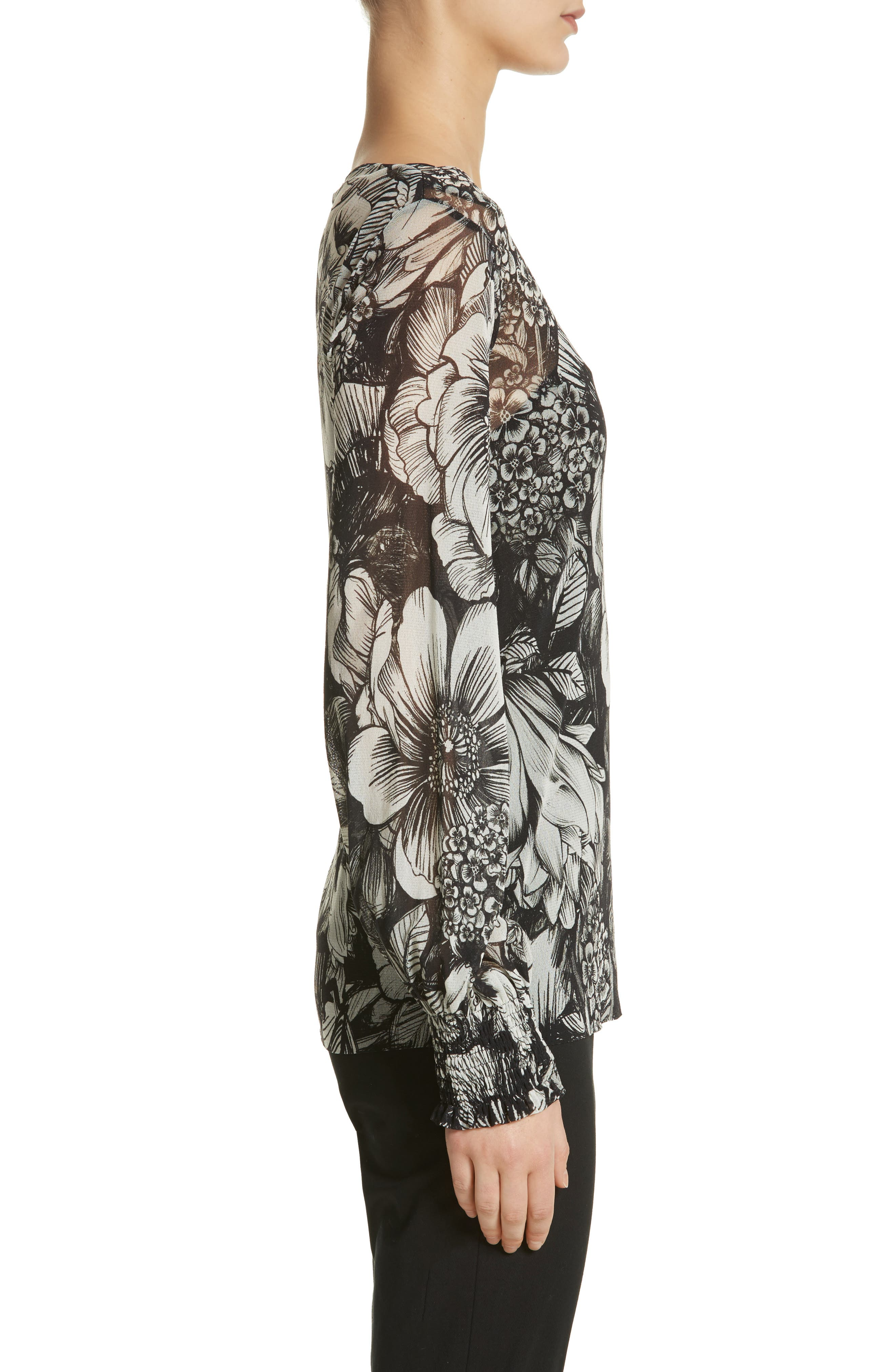 Alternate Image 3  - Fuzzi Floral Print Tulle Blouson Top