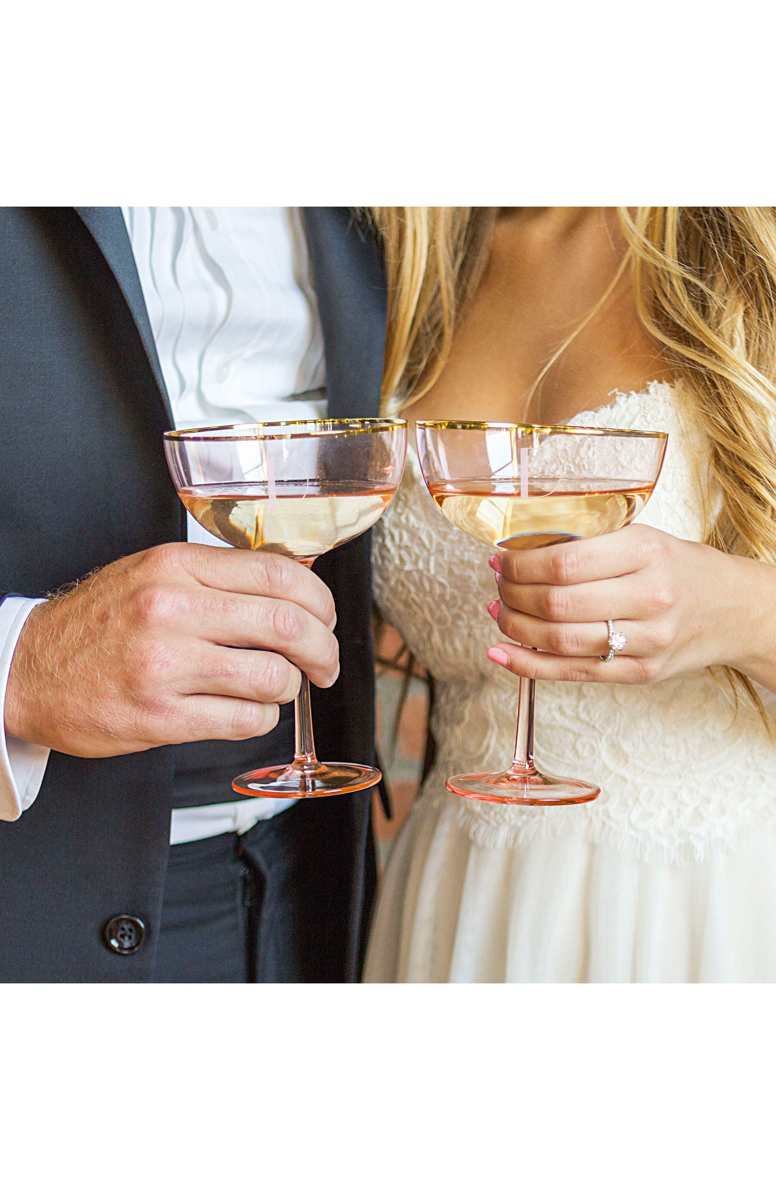 Monogram Set of 2 Champagne Coupes,                             Alternate thumbnail 4, color,                             Blush
