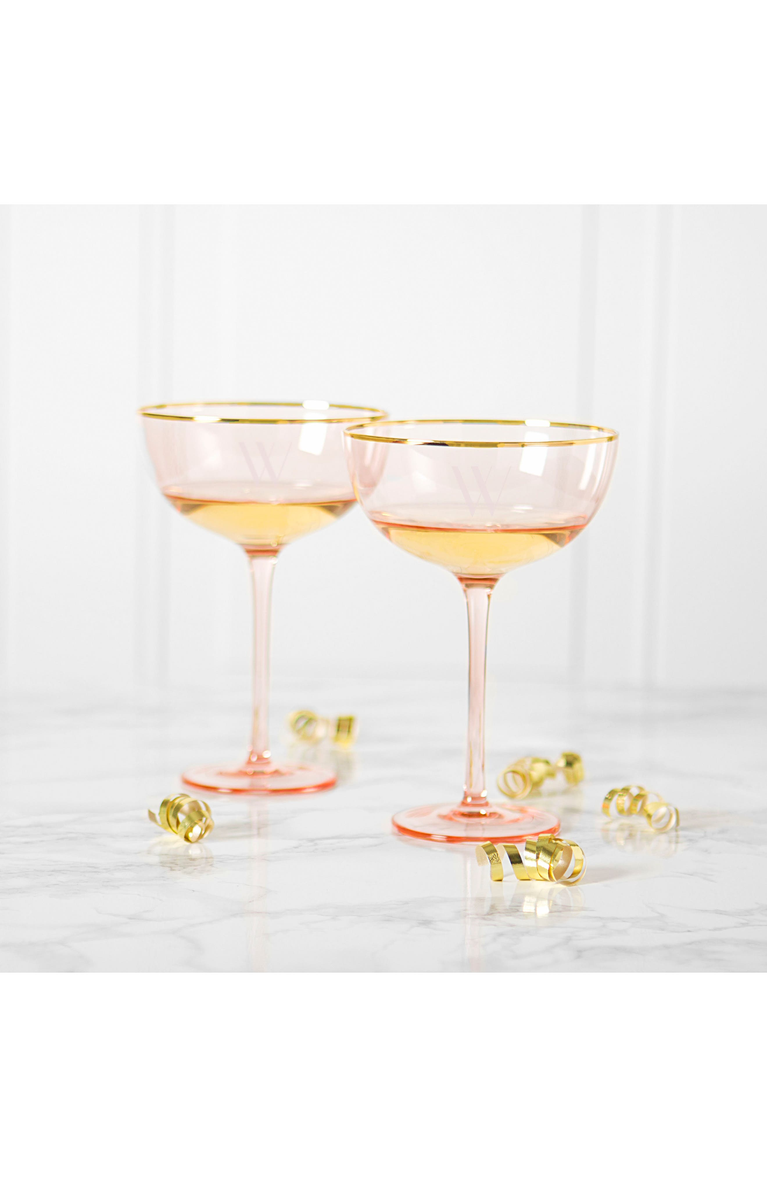 Monogram Set of 2 Champagne Coupes,                             Alternate thumbnail 11, color,                             Blush