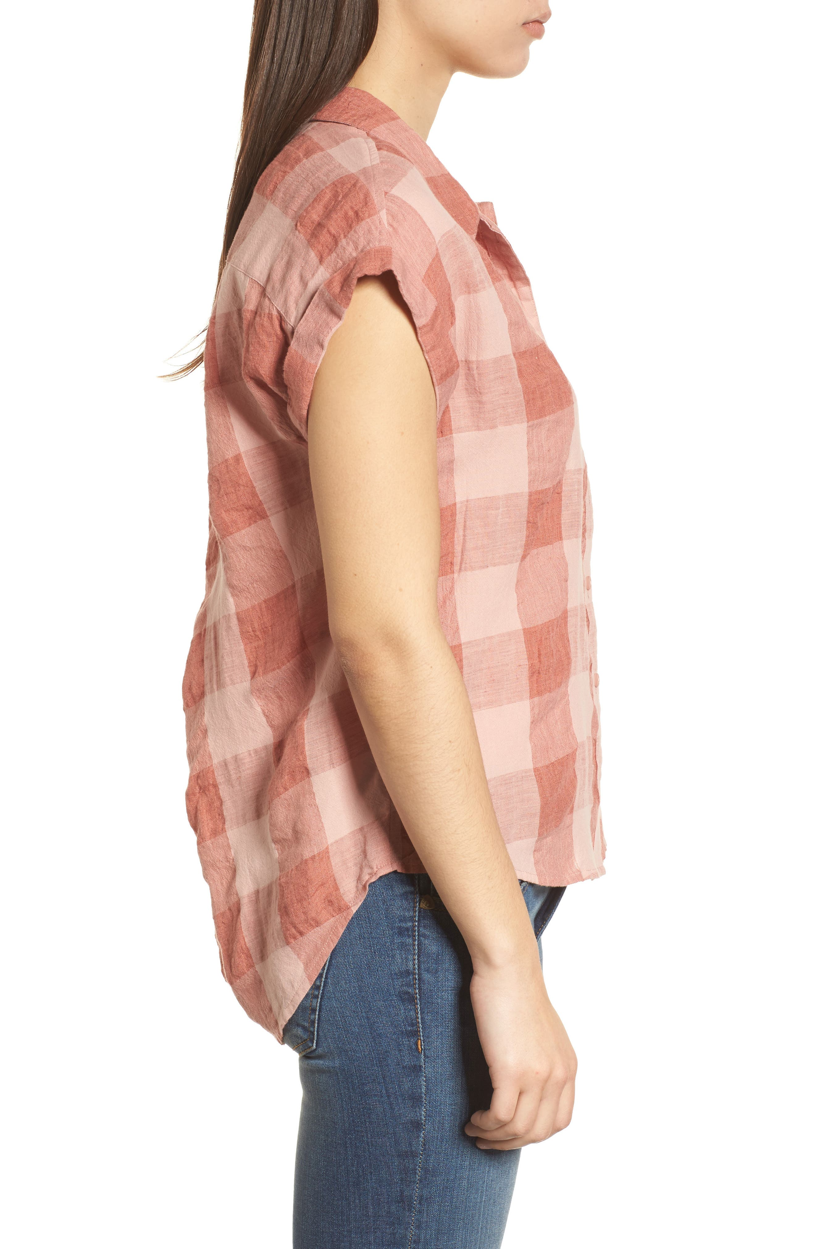 Plaid Short Sleeve High/Low Top,                             Alternate thumbnail 3, color,                             Pink Multi