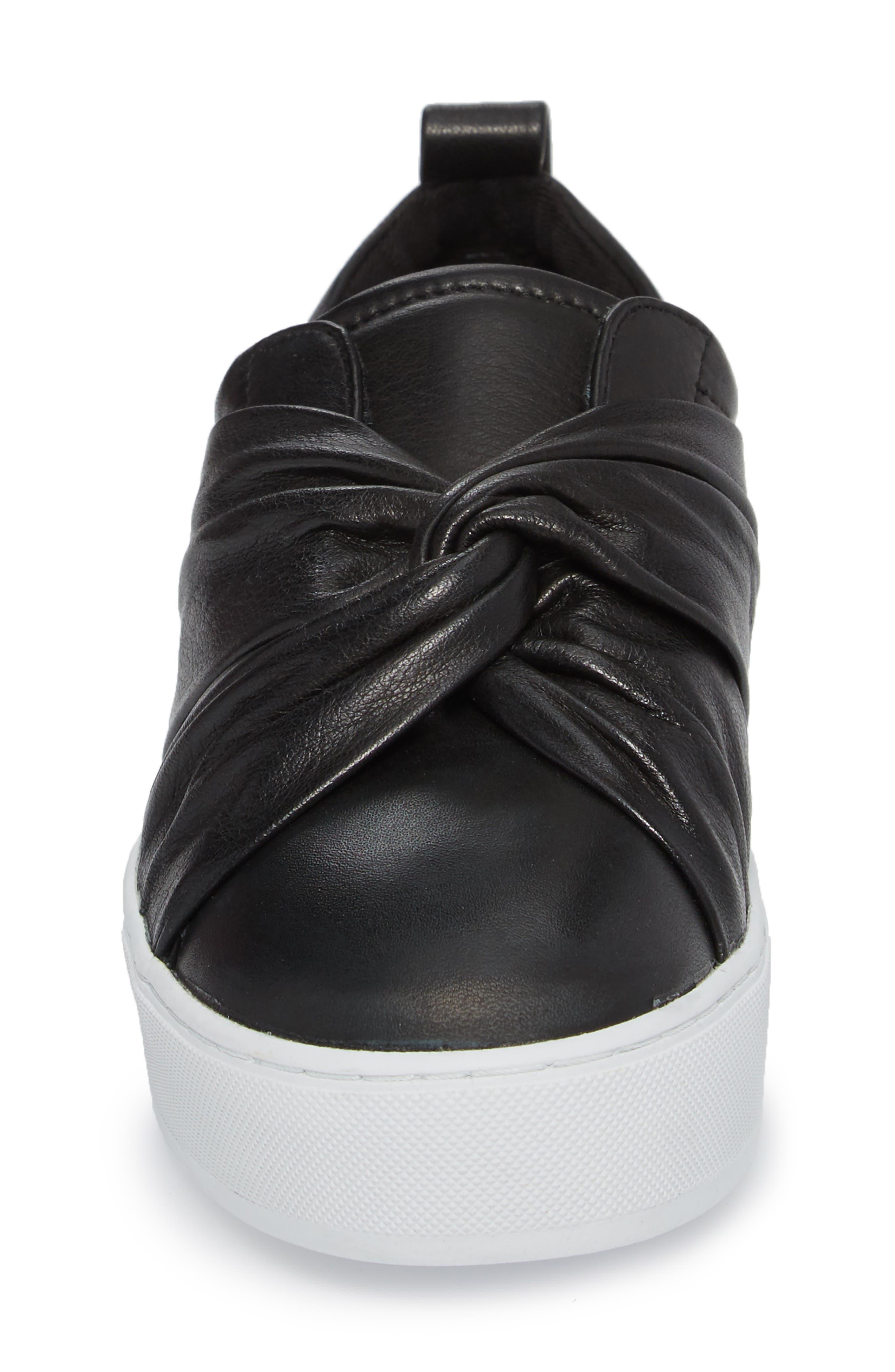Nicole Platform Sneaker,                             Alternate thumbnail 4, color,                             Black Leather