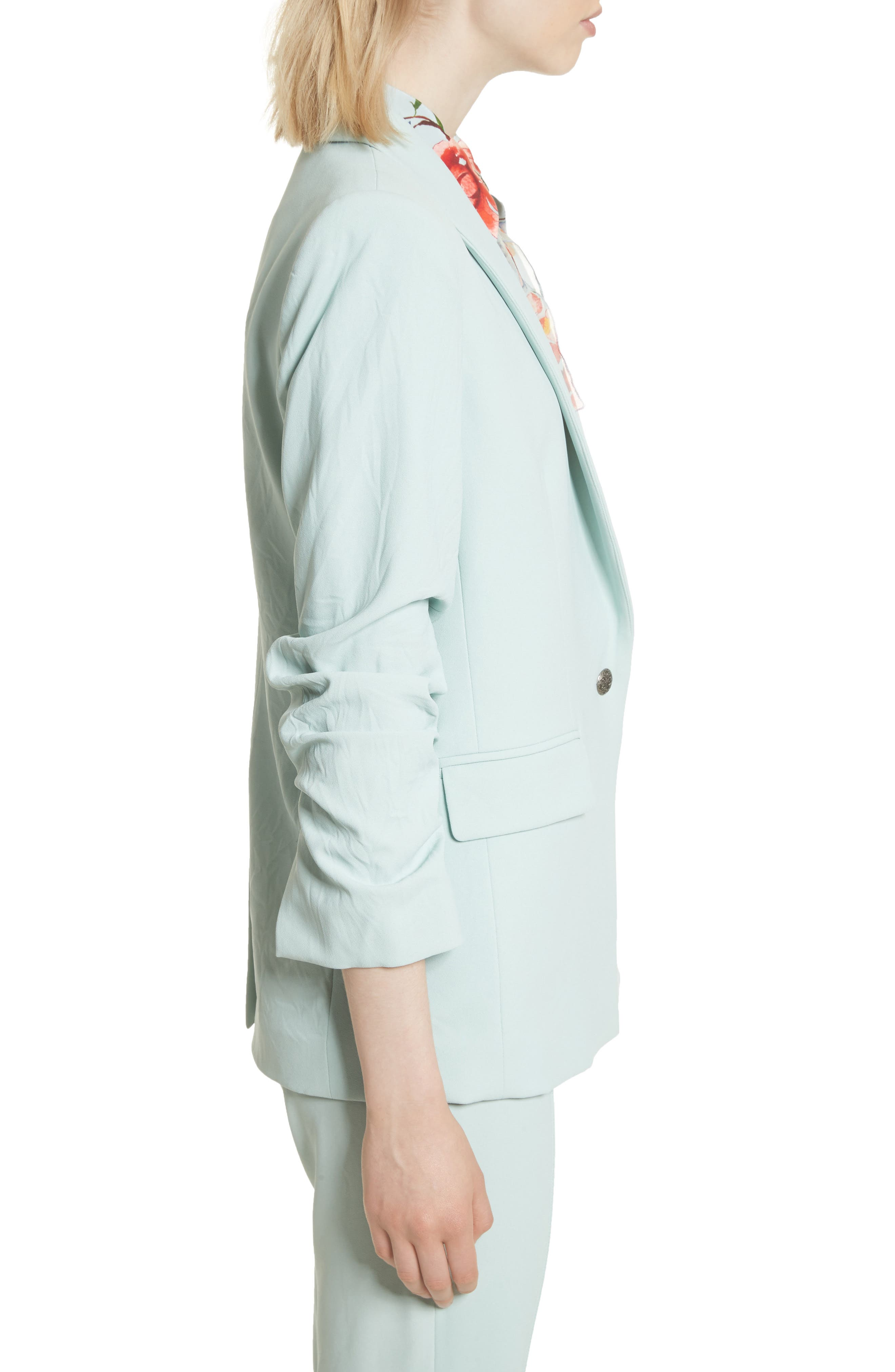 Ruched Sleeve Blazer,                             Alternate thumbnail 3, color,                             Light Dusty Aqua