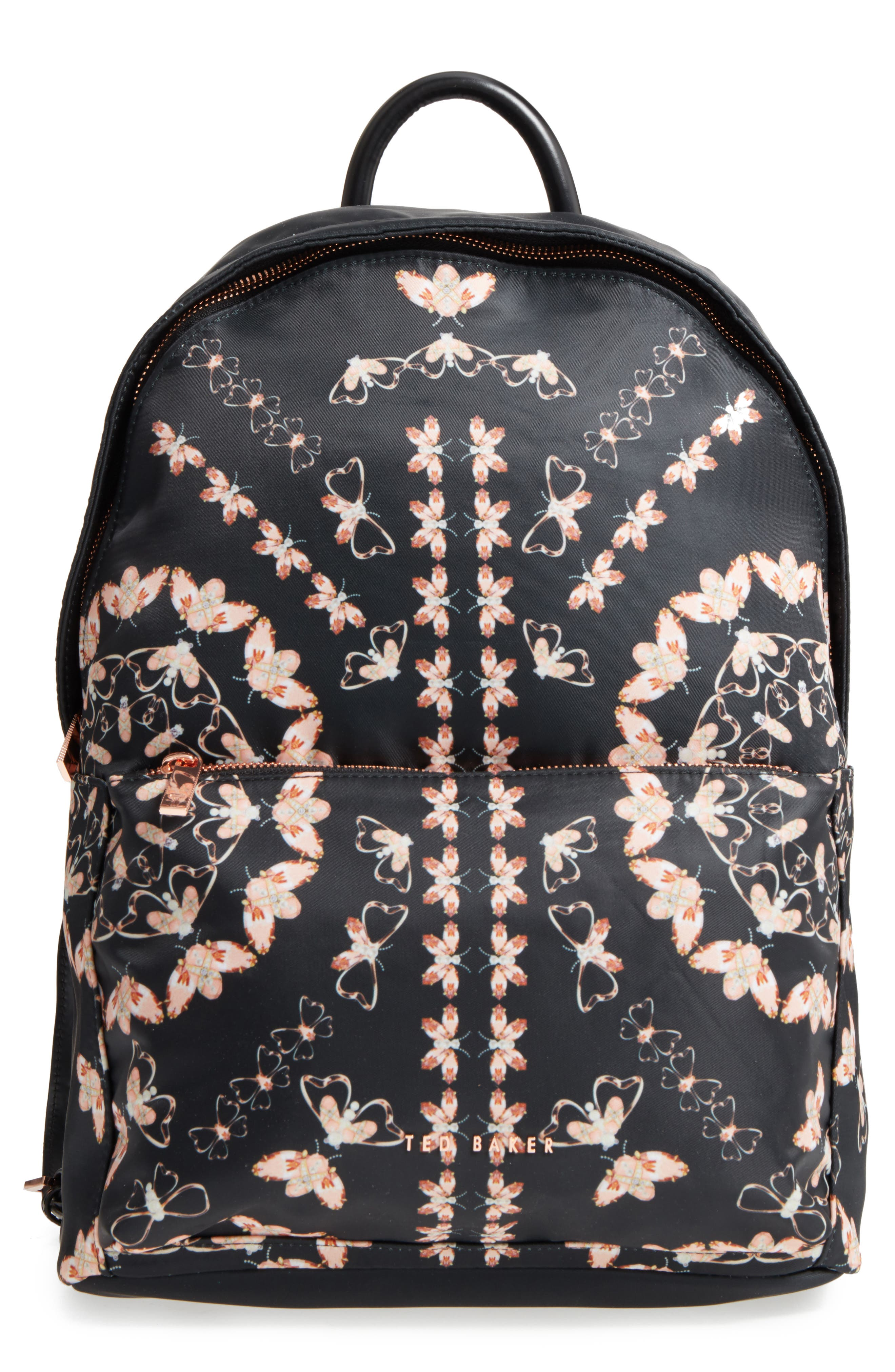 Eartha Print Backpack,                         Main,                         color, Black