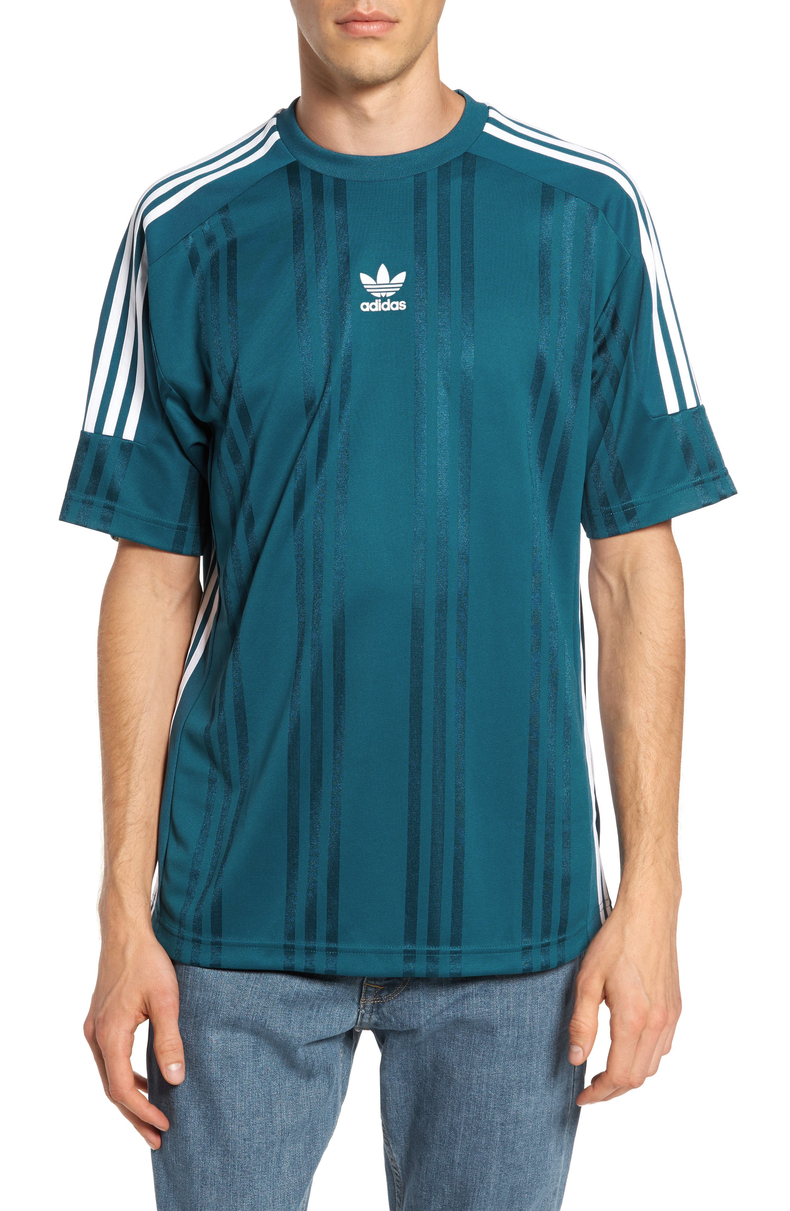 Originals Jacquard Stripe T-Shirt,                         Main,                         color, Real Teal