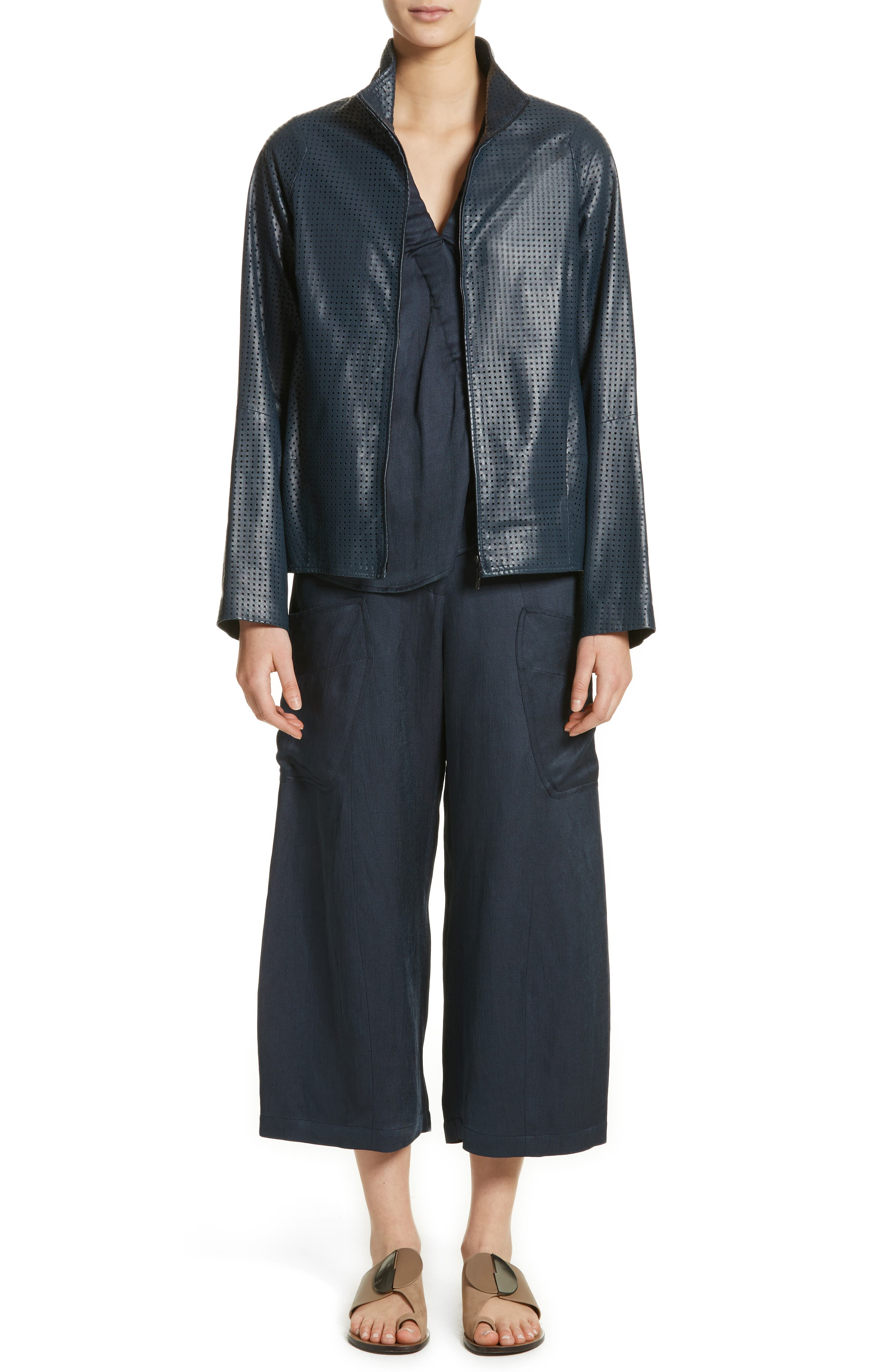 Perforated Nappa Leather Jacket,                             Alternate thumbnail 8, color,                             Ink Jet