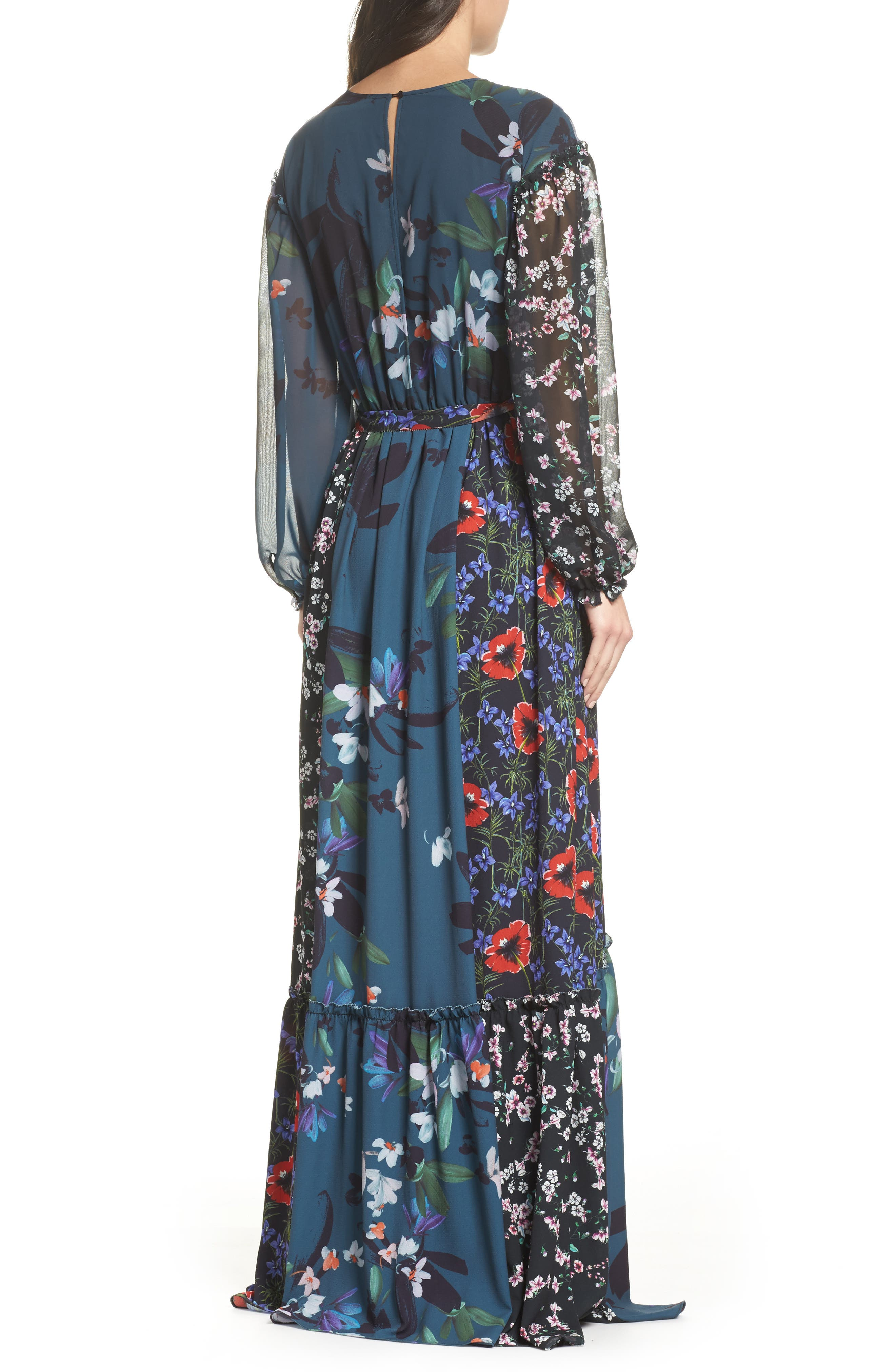 Celia Mix Floral Maxi Dress,                             Alternate thumbnail 2, color,                             Deep Teal Multi
