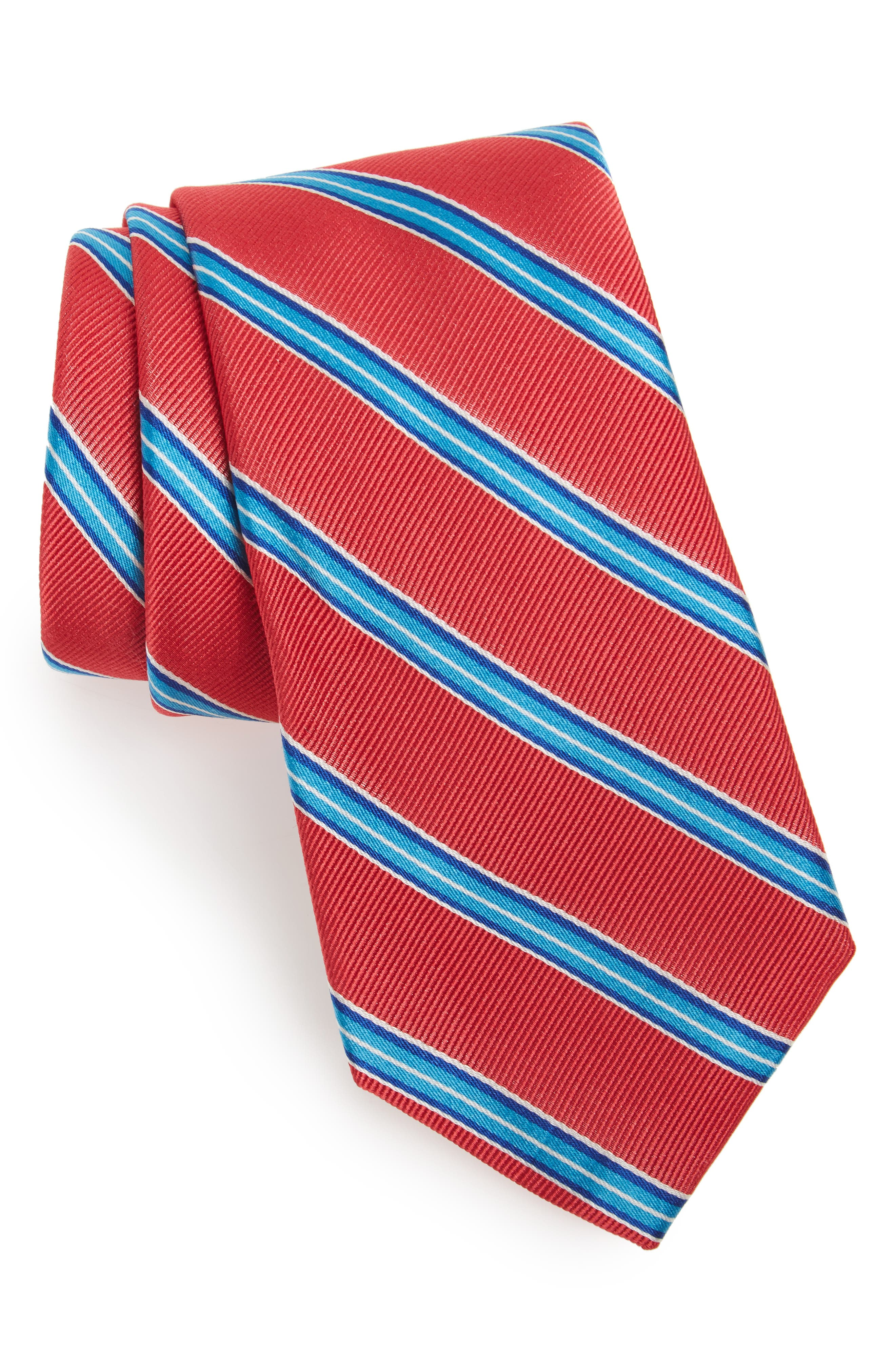 Chester Stripe Silk Tie,                             Main thumbnail 1, color,                             Nantucket