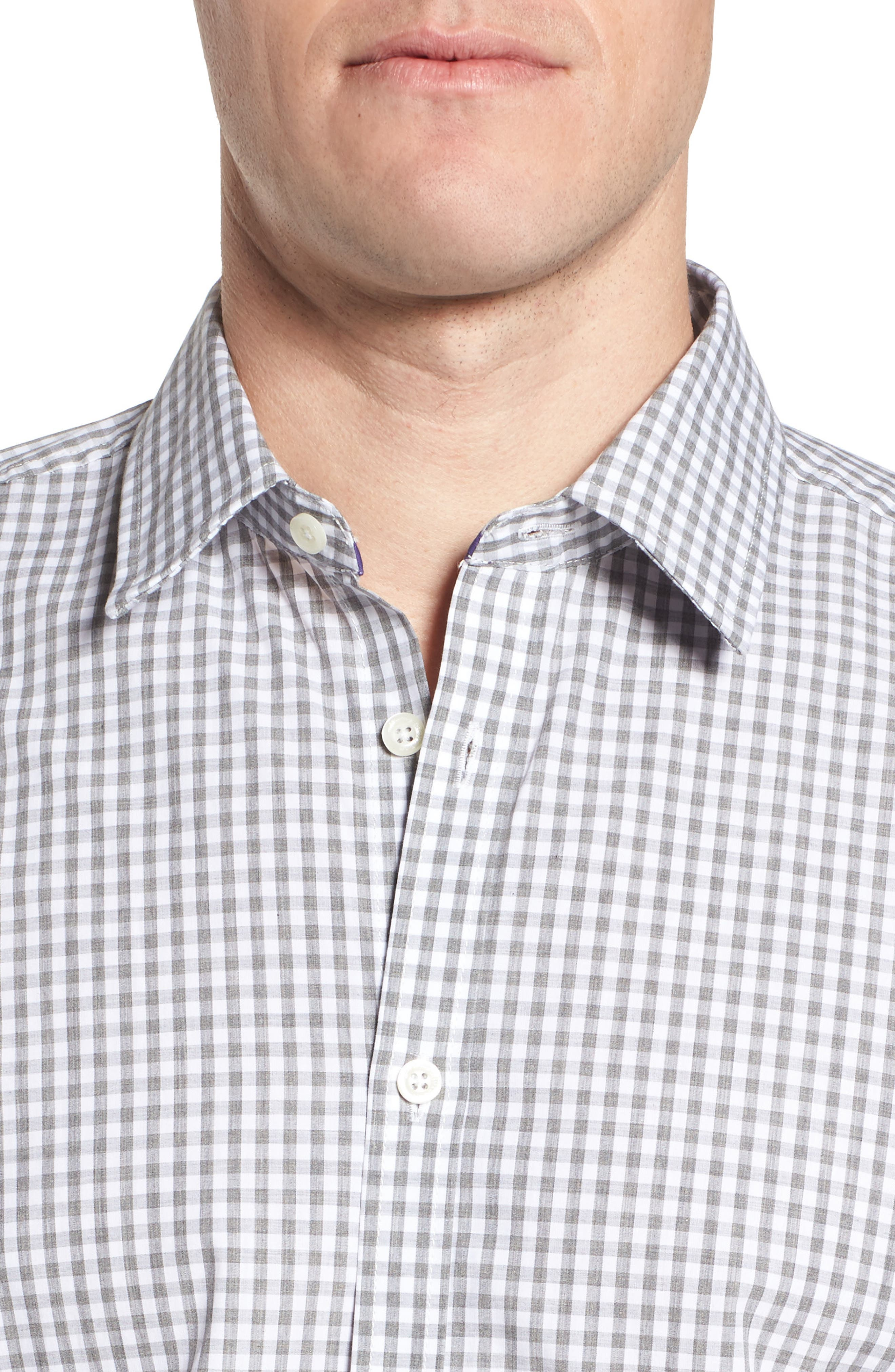 Fitted Check Sport Shirt,                             Alternate thumbnail 2, color,                             Medium Grey