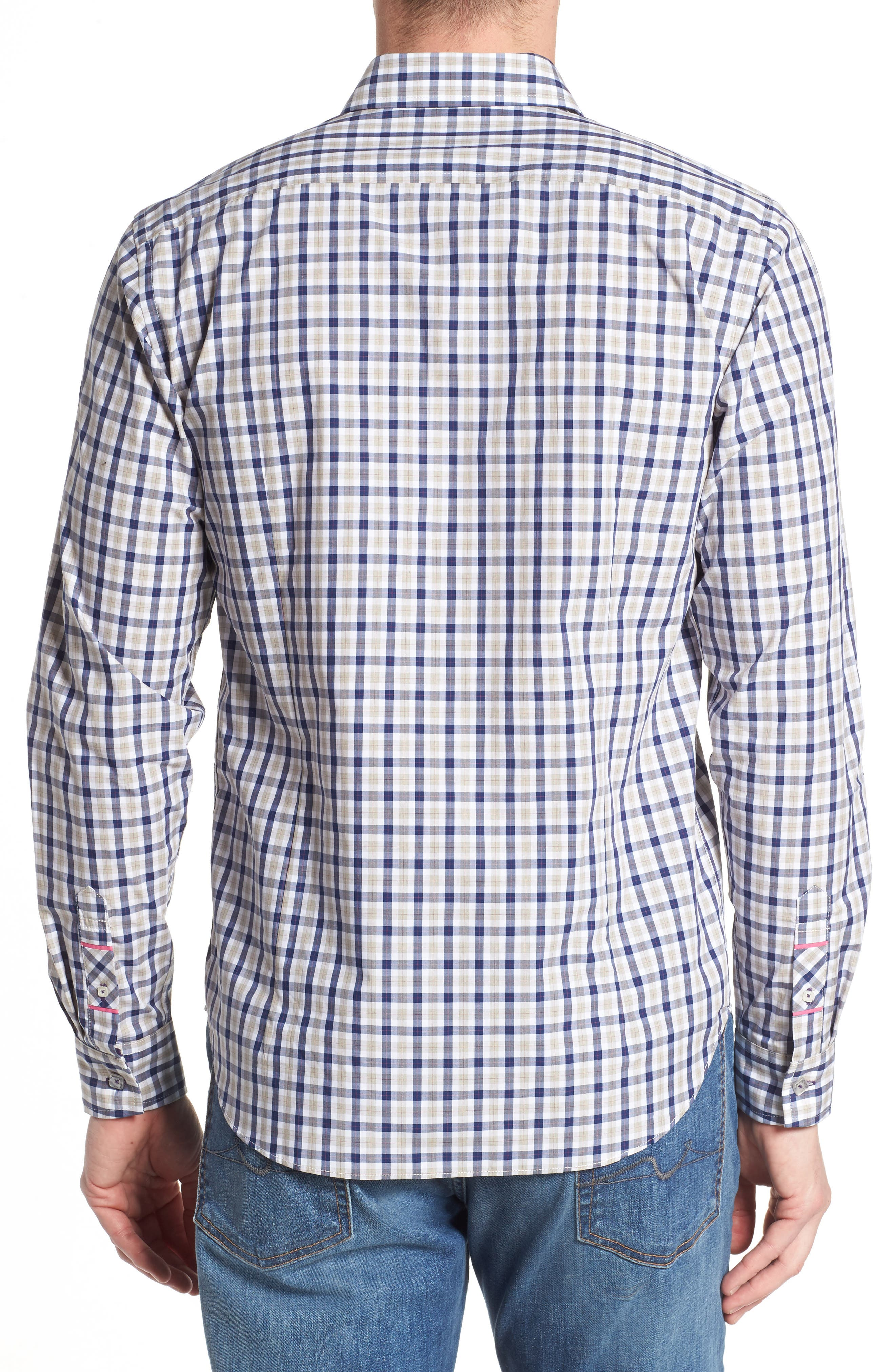 Fitted Plaid Sport Shirt,                             Alternate thumbnail 2, color,                             Dark Blue
