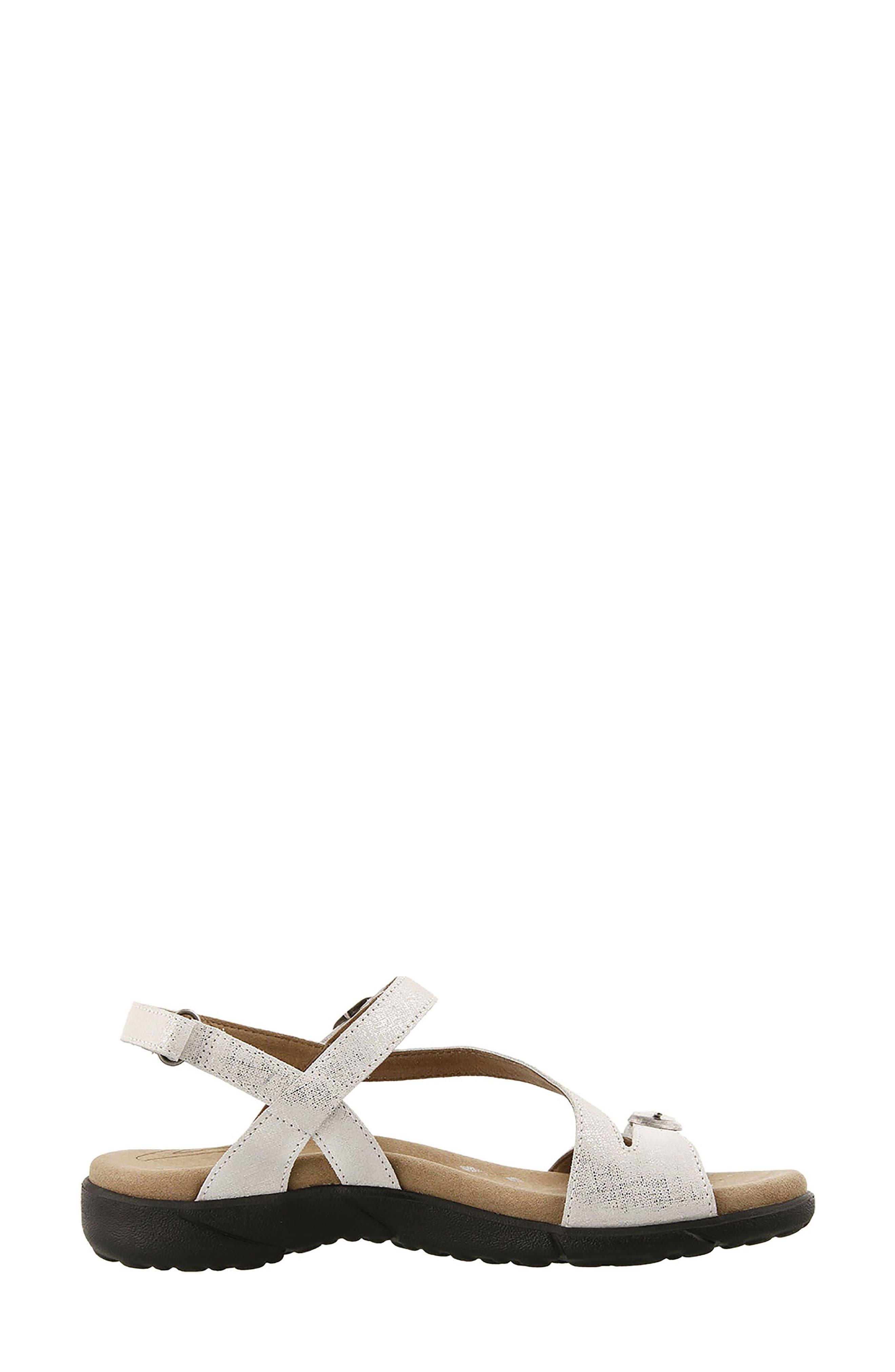 Beauty Sandal,                             Alternate thumbnail 3, color,                             White Metallic Leather