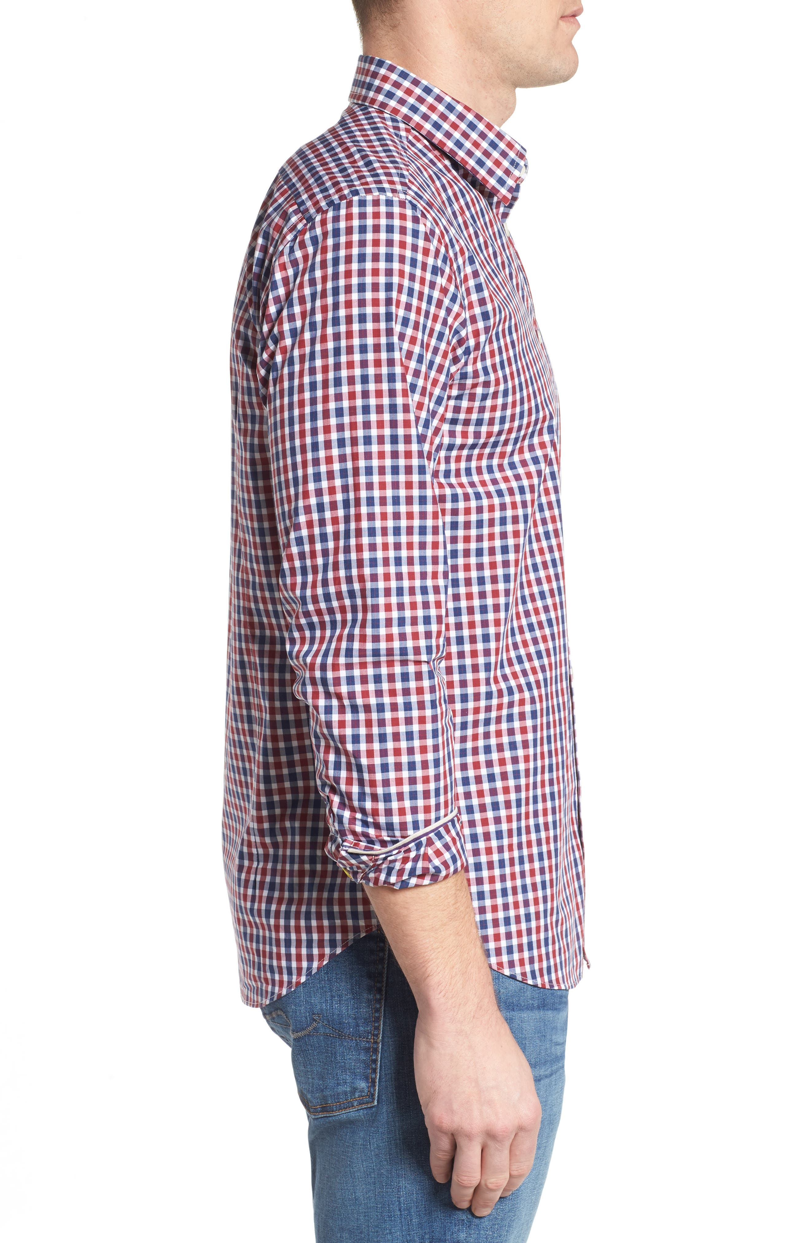 Slim Fit Check Sport Shirt,                             Alternate thumbnail 3, color,                             Bright Red