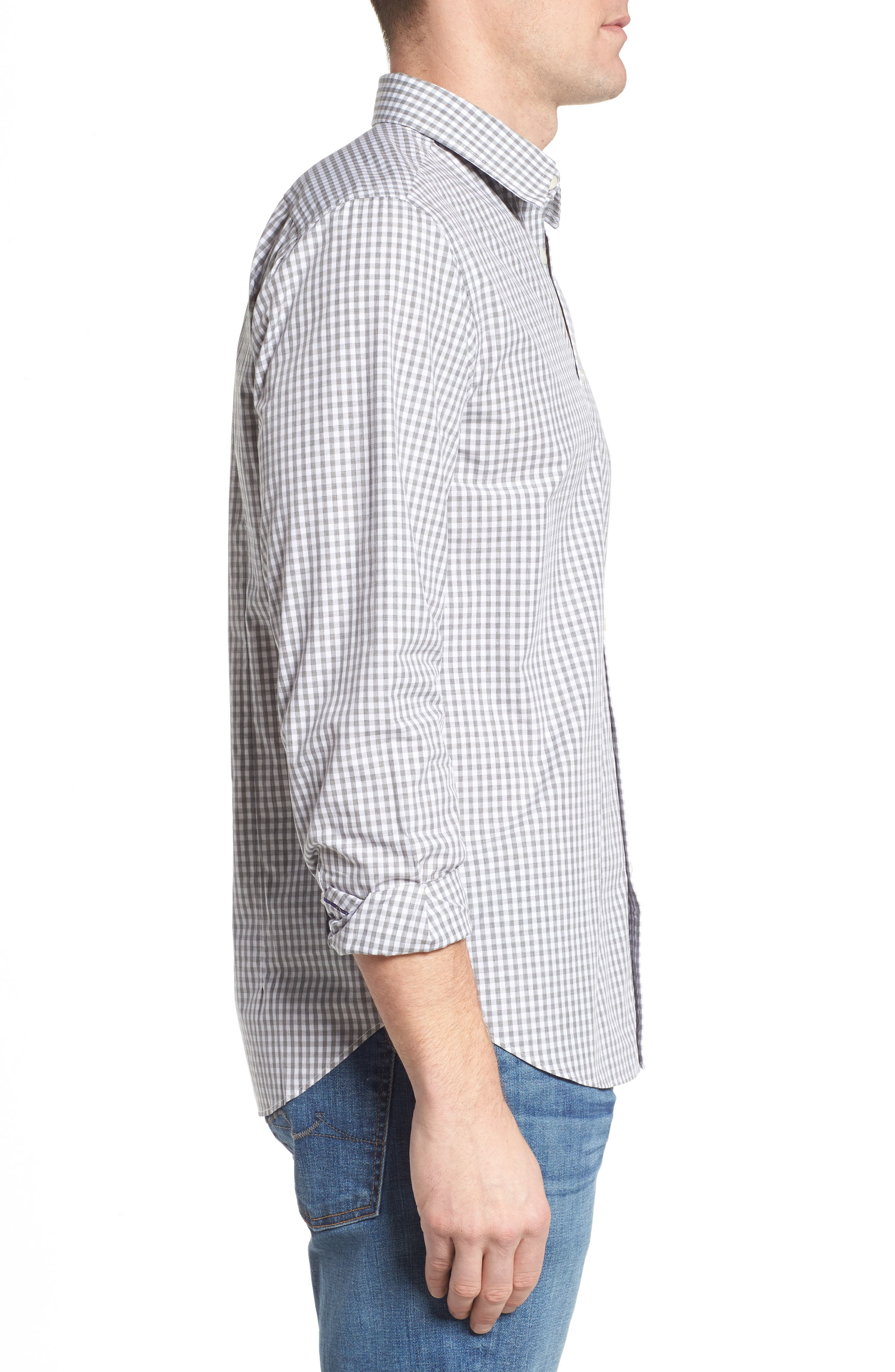Fitted Check Sport Shirt,                             Alternate thumbnail 4, color,                             Medium Grey