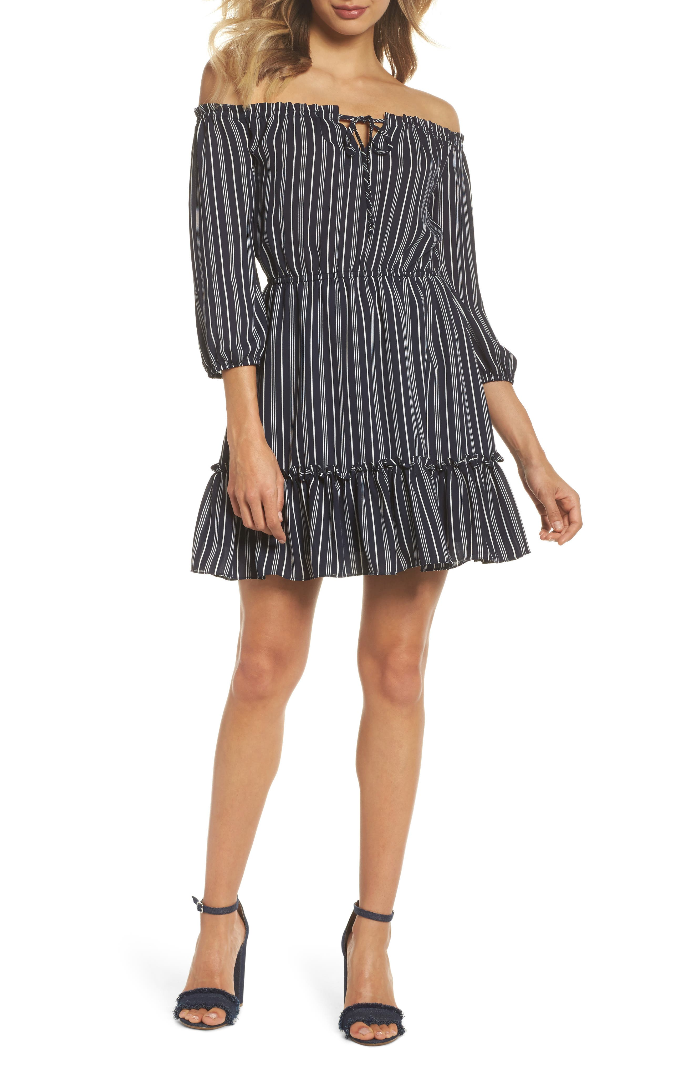 McKenna Off the Shoulder Minidress,                         Main,                         color, Navy
