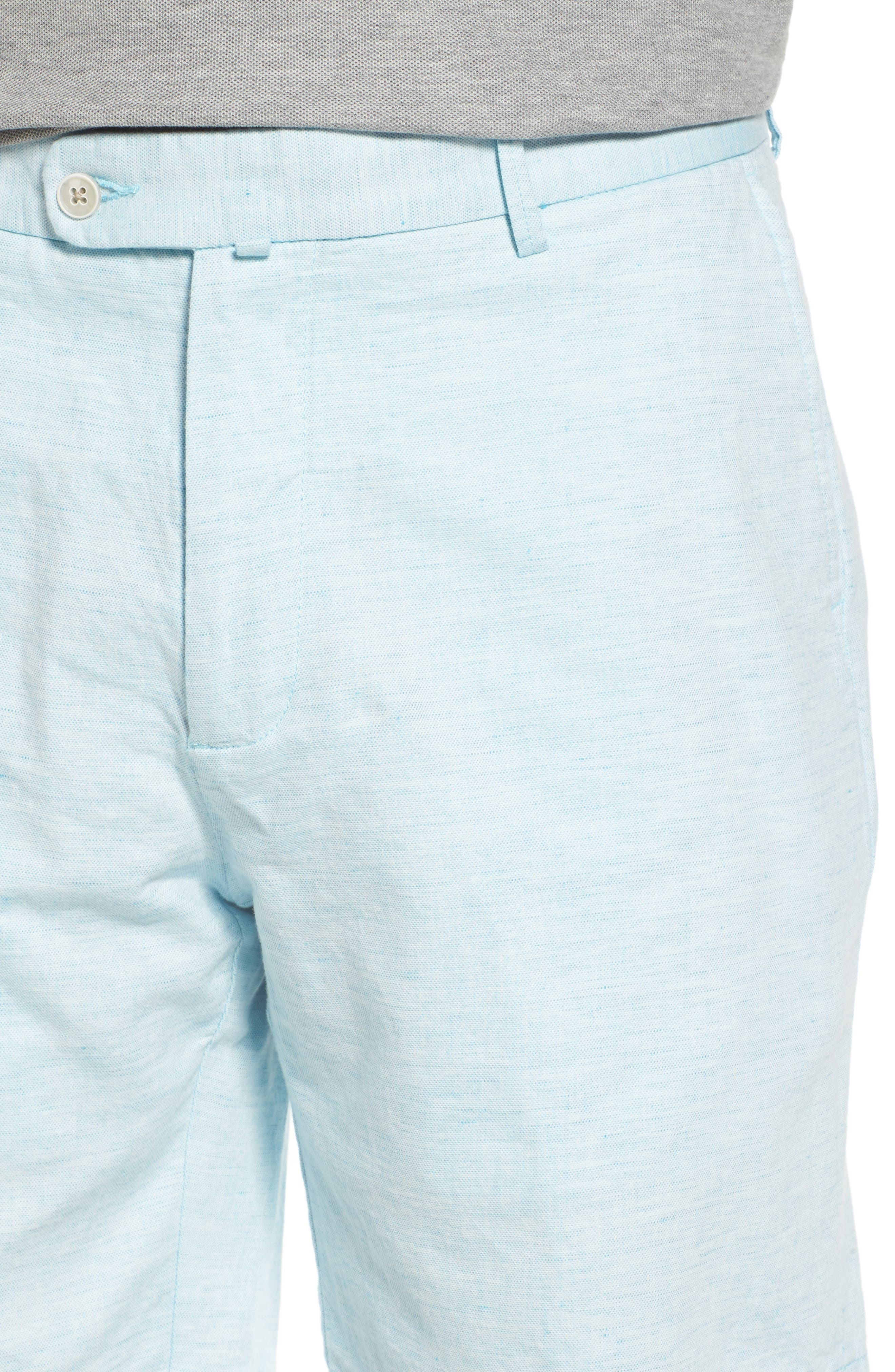 Crown Cool Delave Flat Front Shorts,                             Alternate thumbnail 4, color,                             Grotto Blue