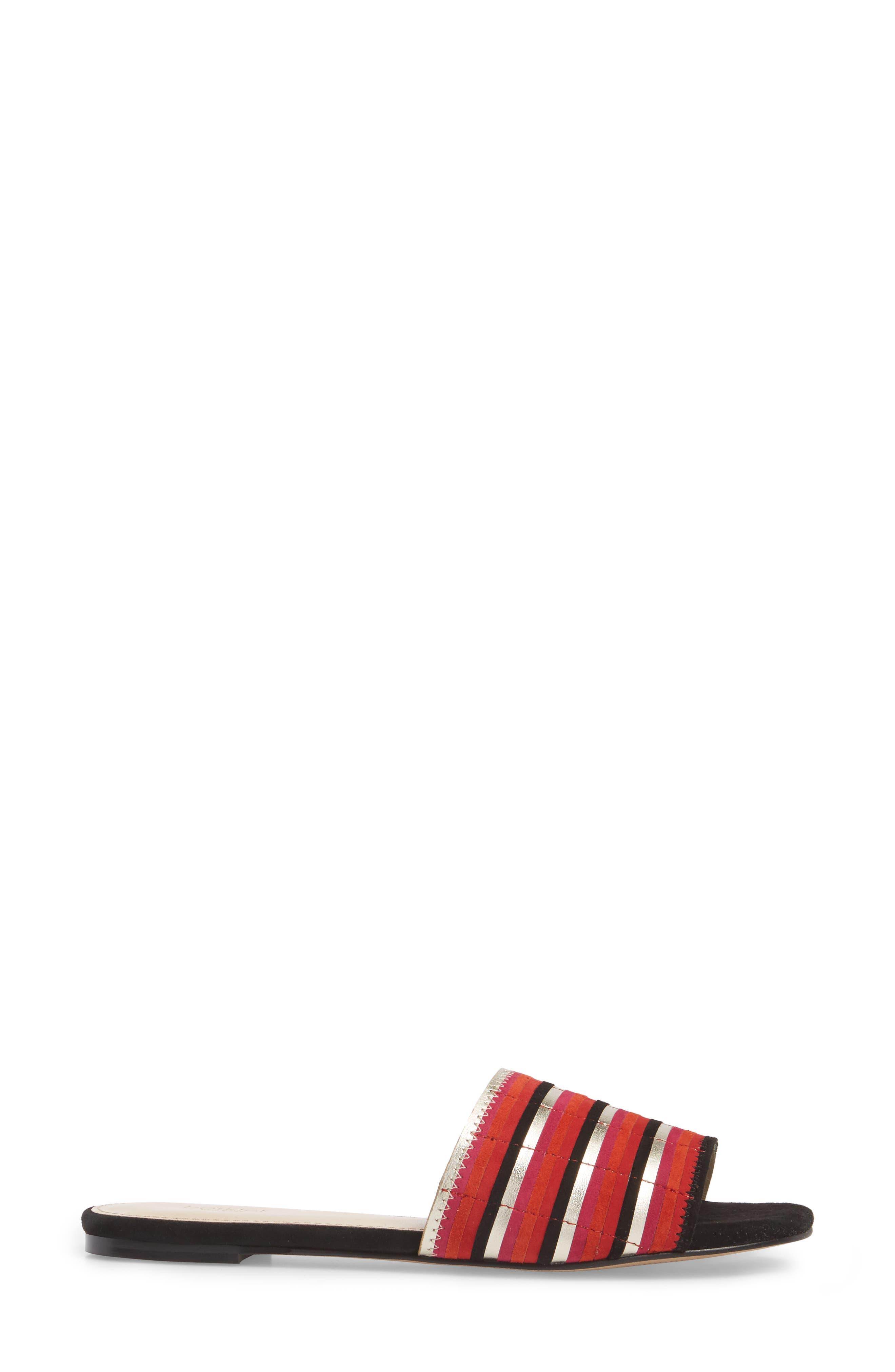 Marley Slide Sandal,                             Alternate thumbnail 3, color,                             Poppy Suede
