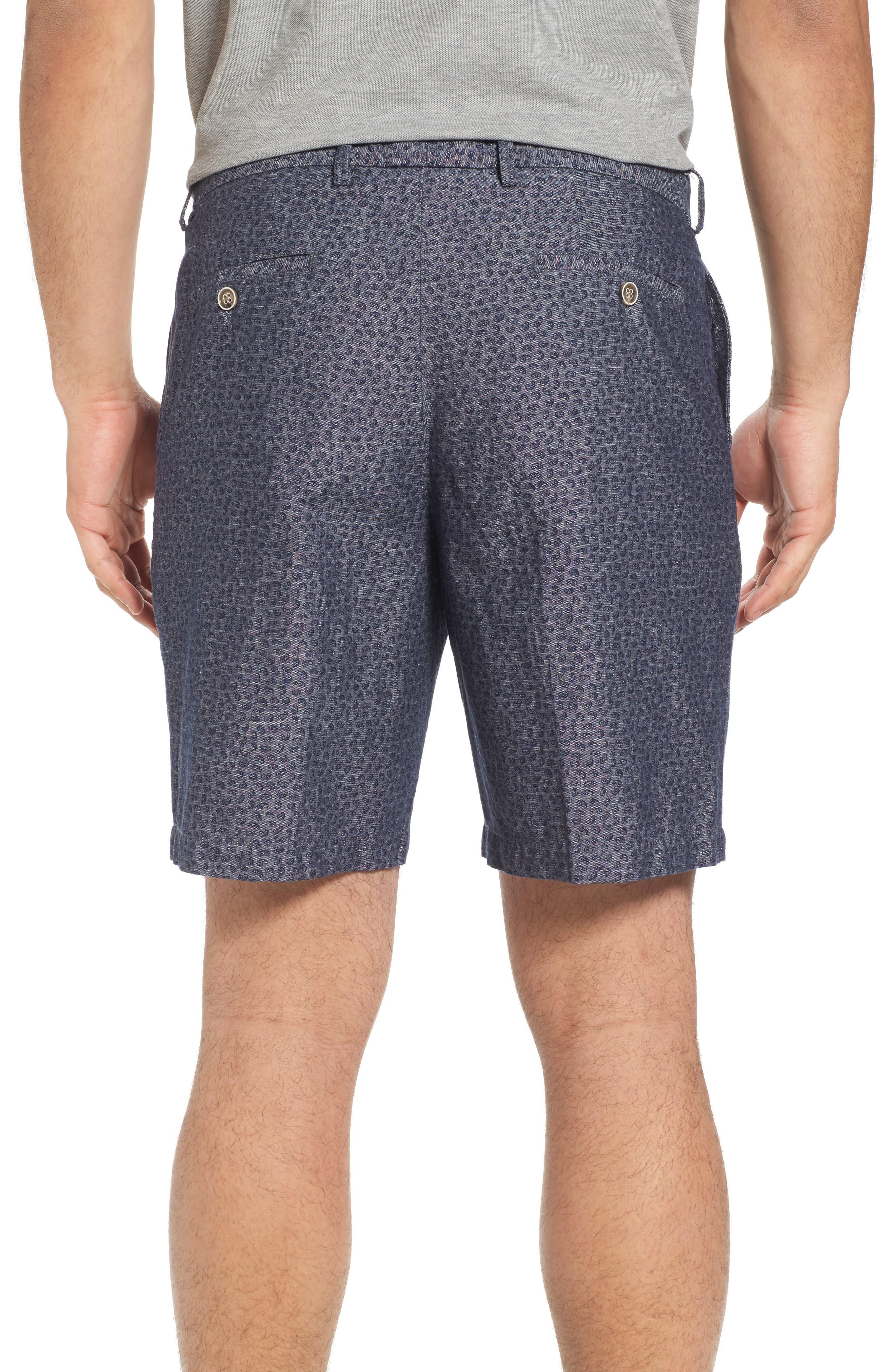 Paisley Chambray Flat Front Shorts,                             Alternate thumbnail 2, color,                             Dark Grey