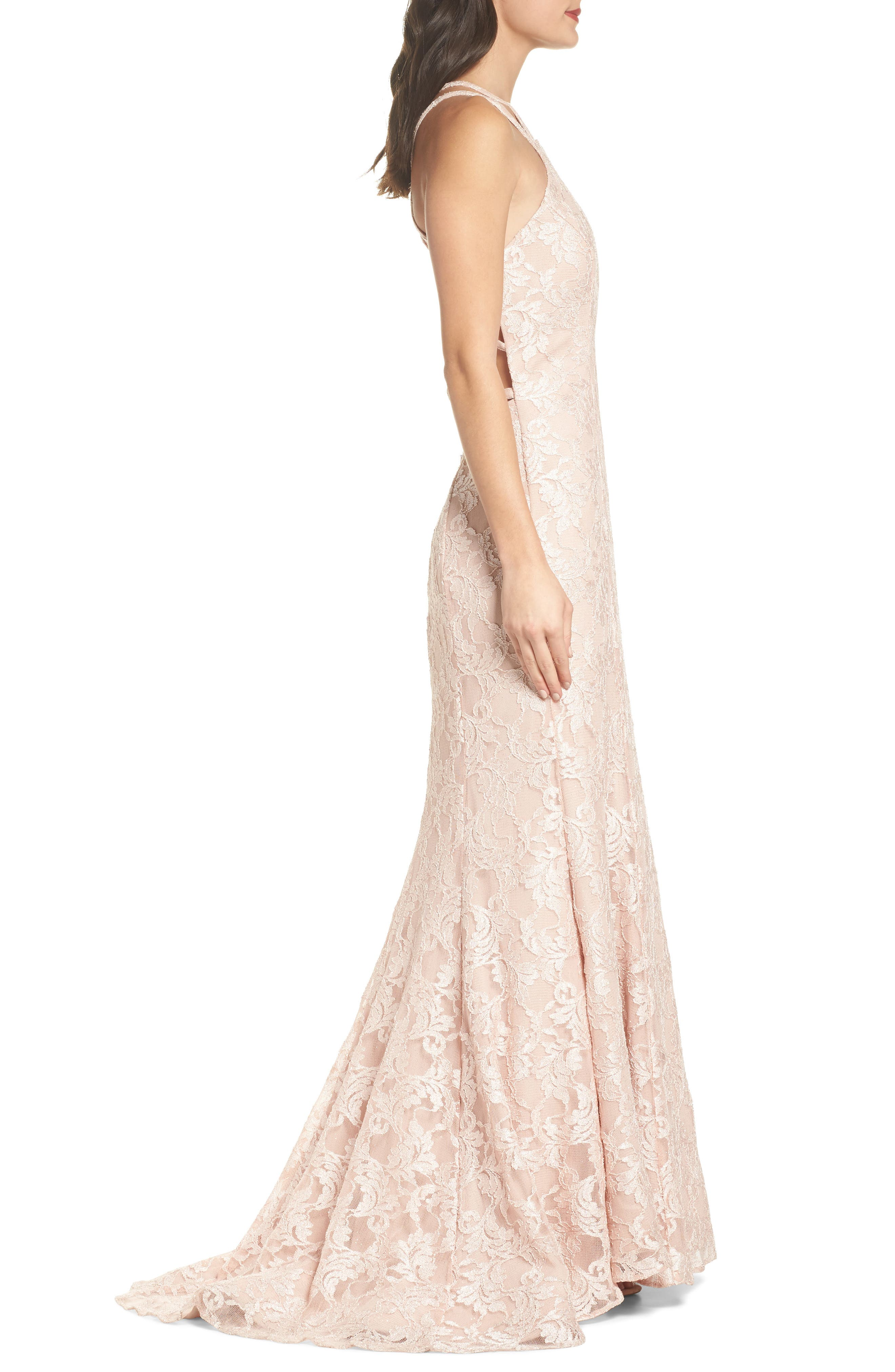 Strappy Lace Mermaid Gown,                             Alternate thumbnail 3, color,                             Blush / Nude