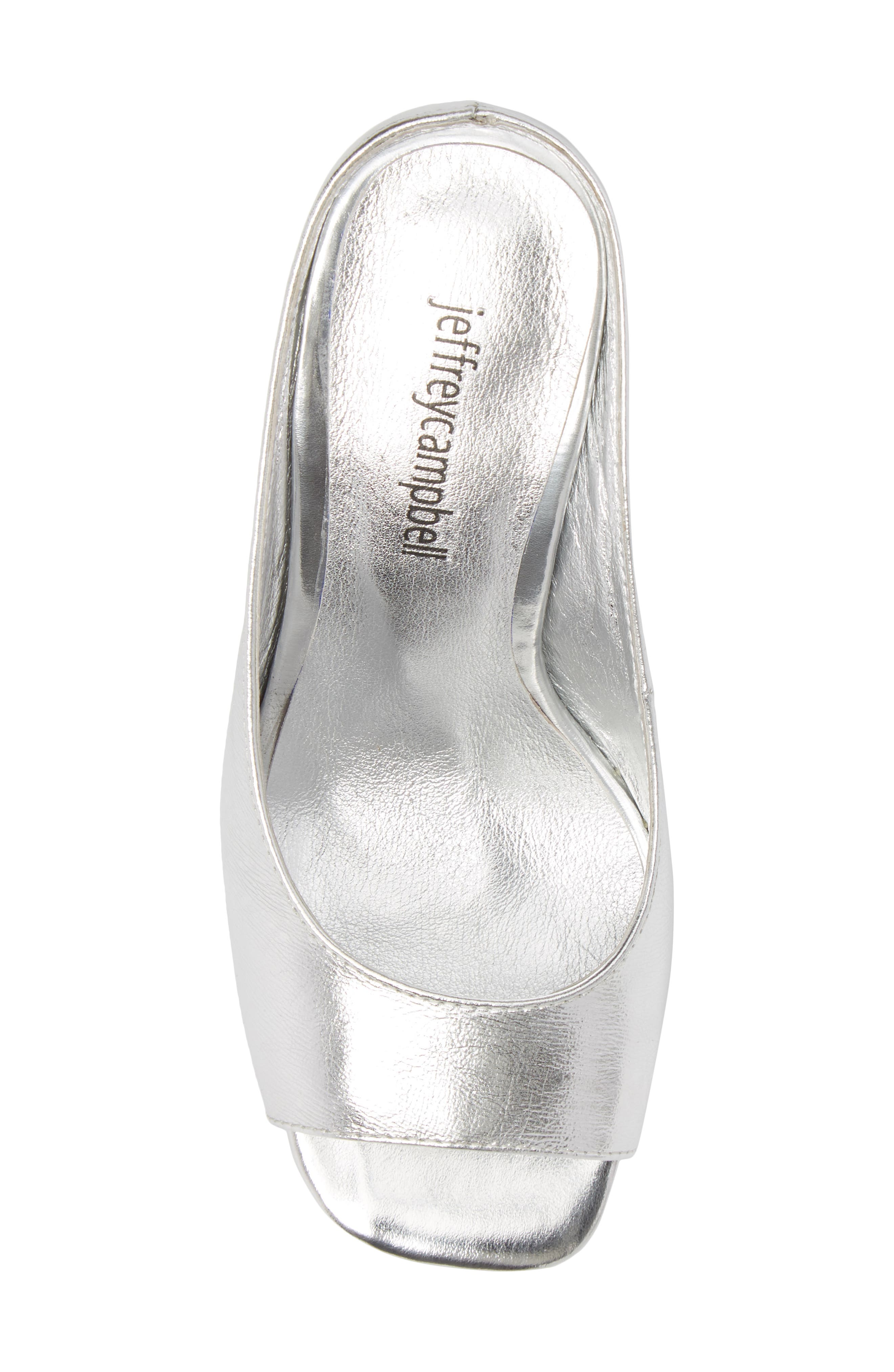 Generous Wedge Sandal,                             Alternate thumbnail 5, color,                             Silver Leather