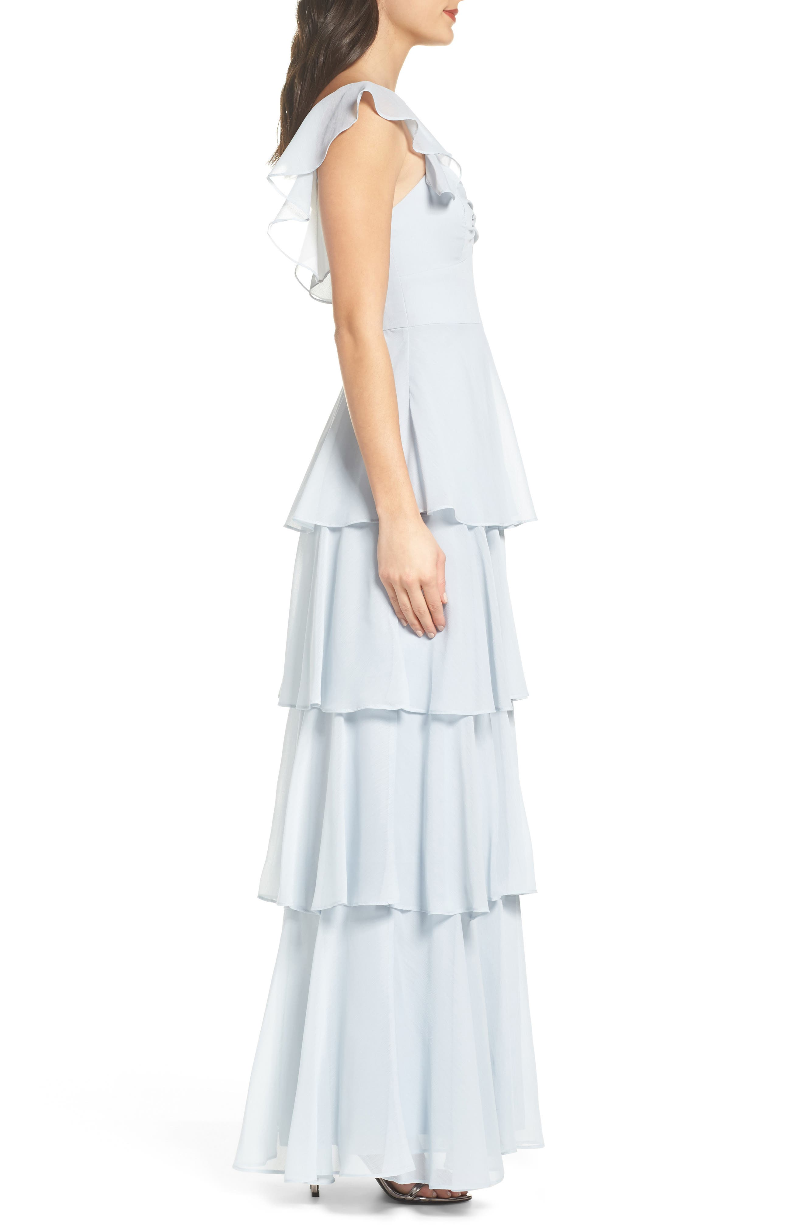 Abby Off the Shoulder Tiered Dress,                             Alternate thumbnail 3, color,                             Ocean Mist