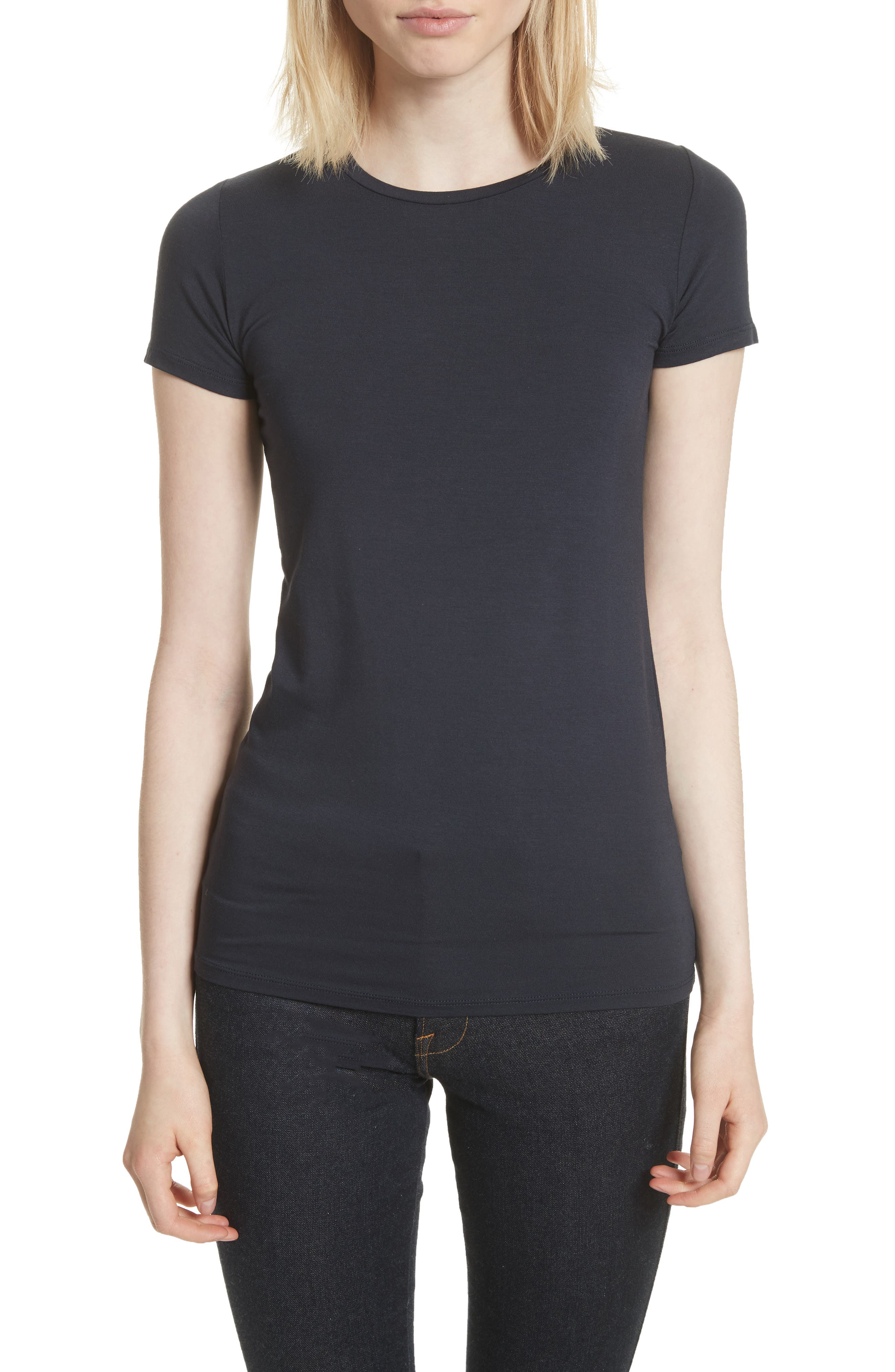 MAJESTIC Soft Touch Short-Sleeve Crewneck T-Shirt in Marine
