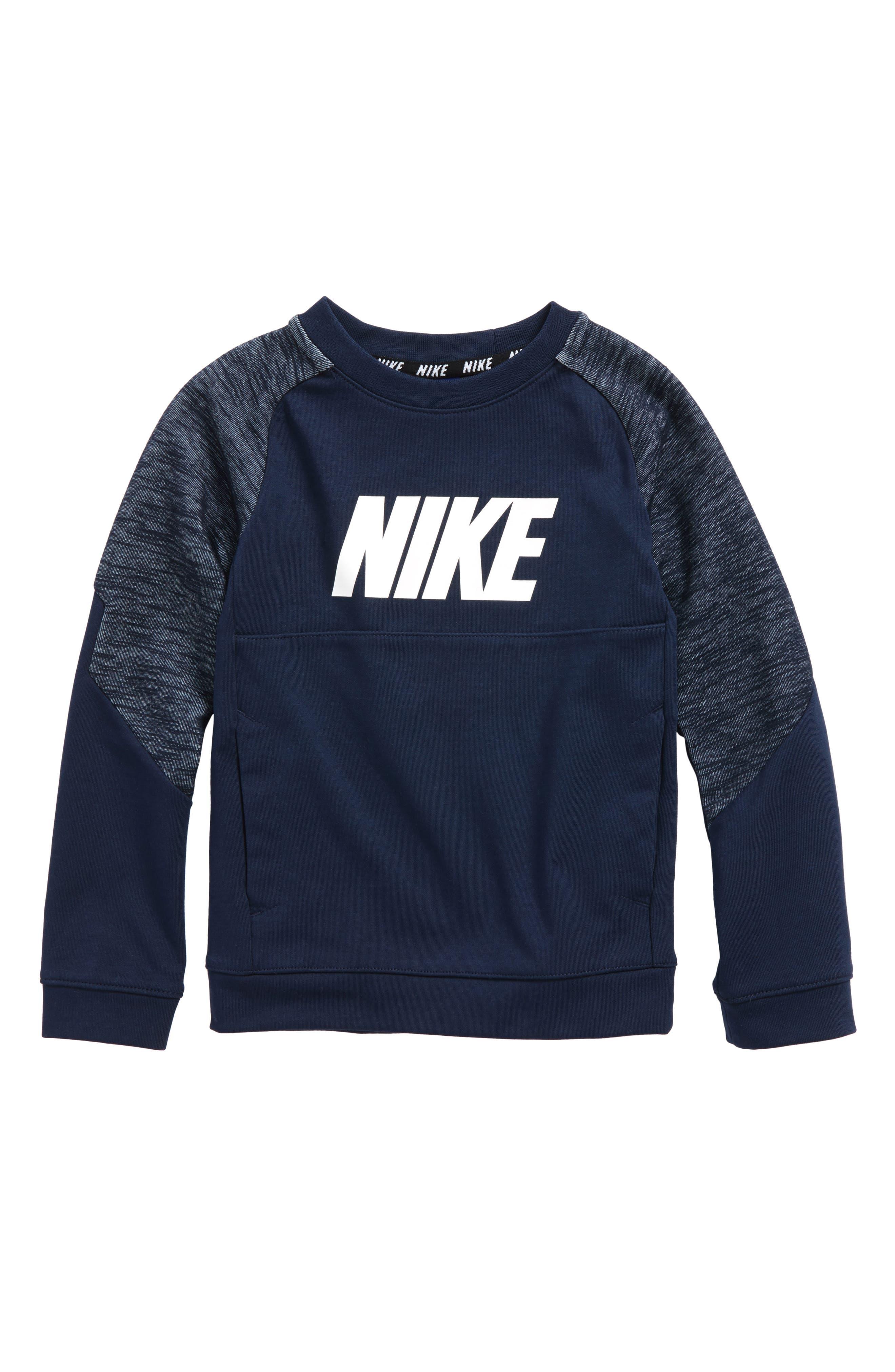 Raglan Sleeve Sweatshirt,                         Main,                         color, Obsidian