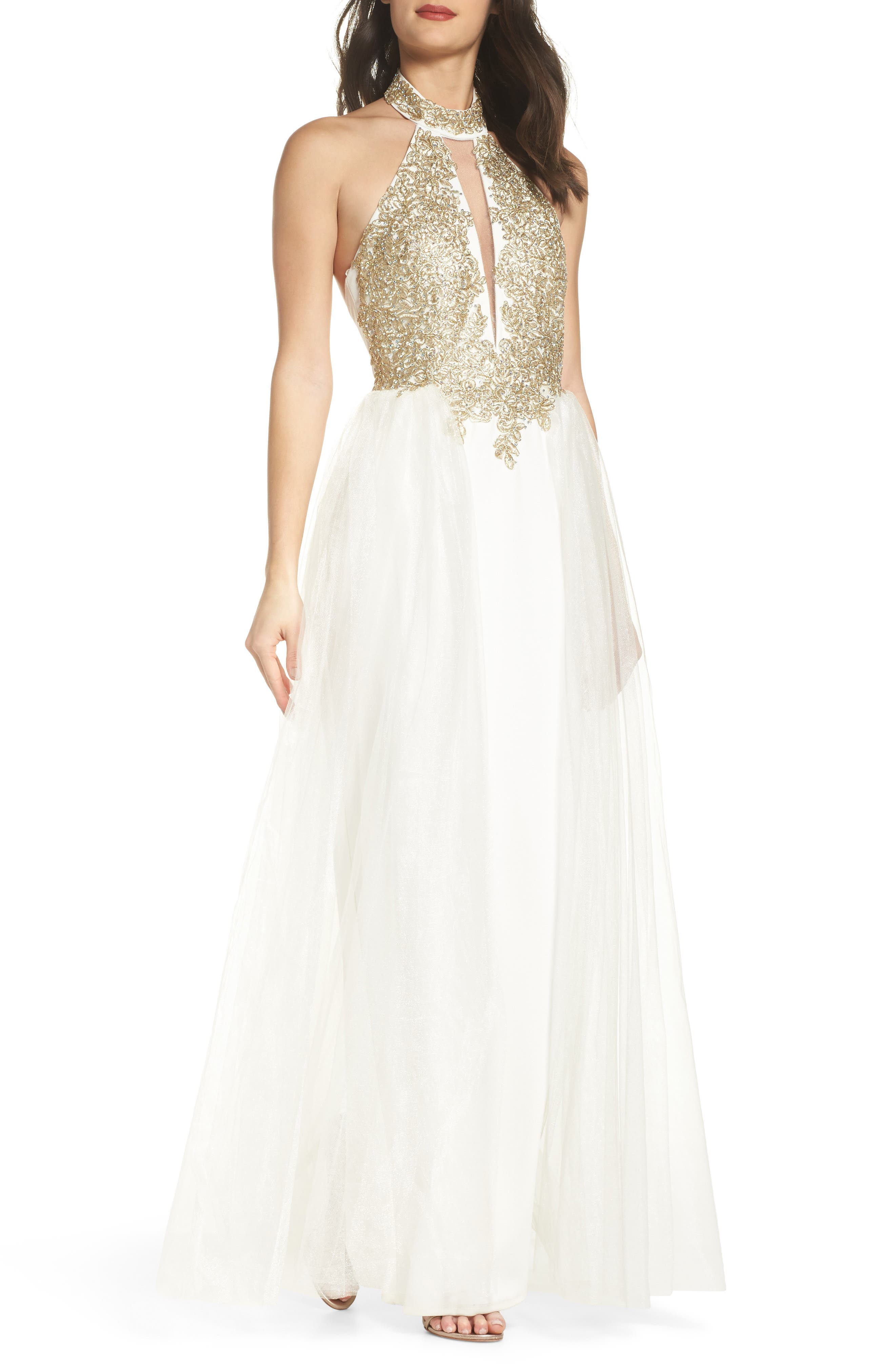 Embellished Halter Gown with Tulle Overskirt,                         Main,                         color, Ivory/ Gold