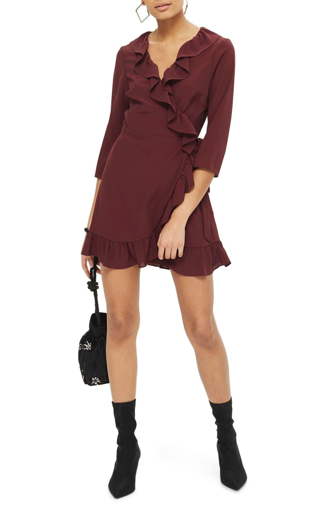 Ruffle Wrap Dress,                         Main,                         color, Burgundy