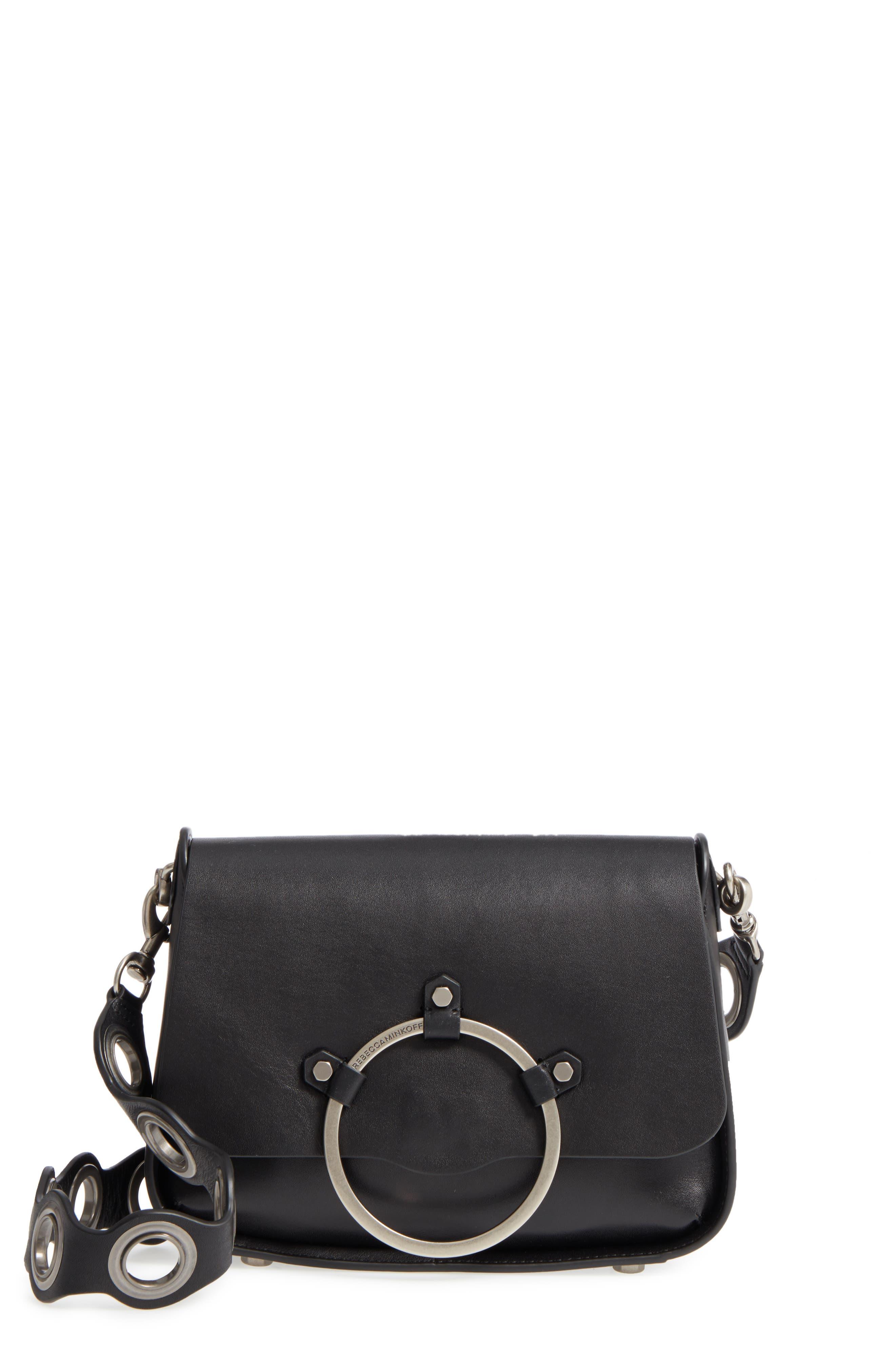 Ring Leather Shoulder Bag,                         Main,                         color, Black
