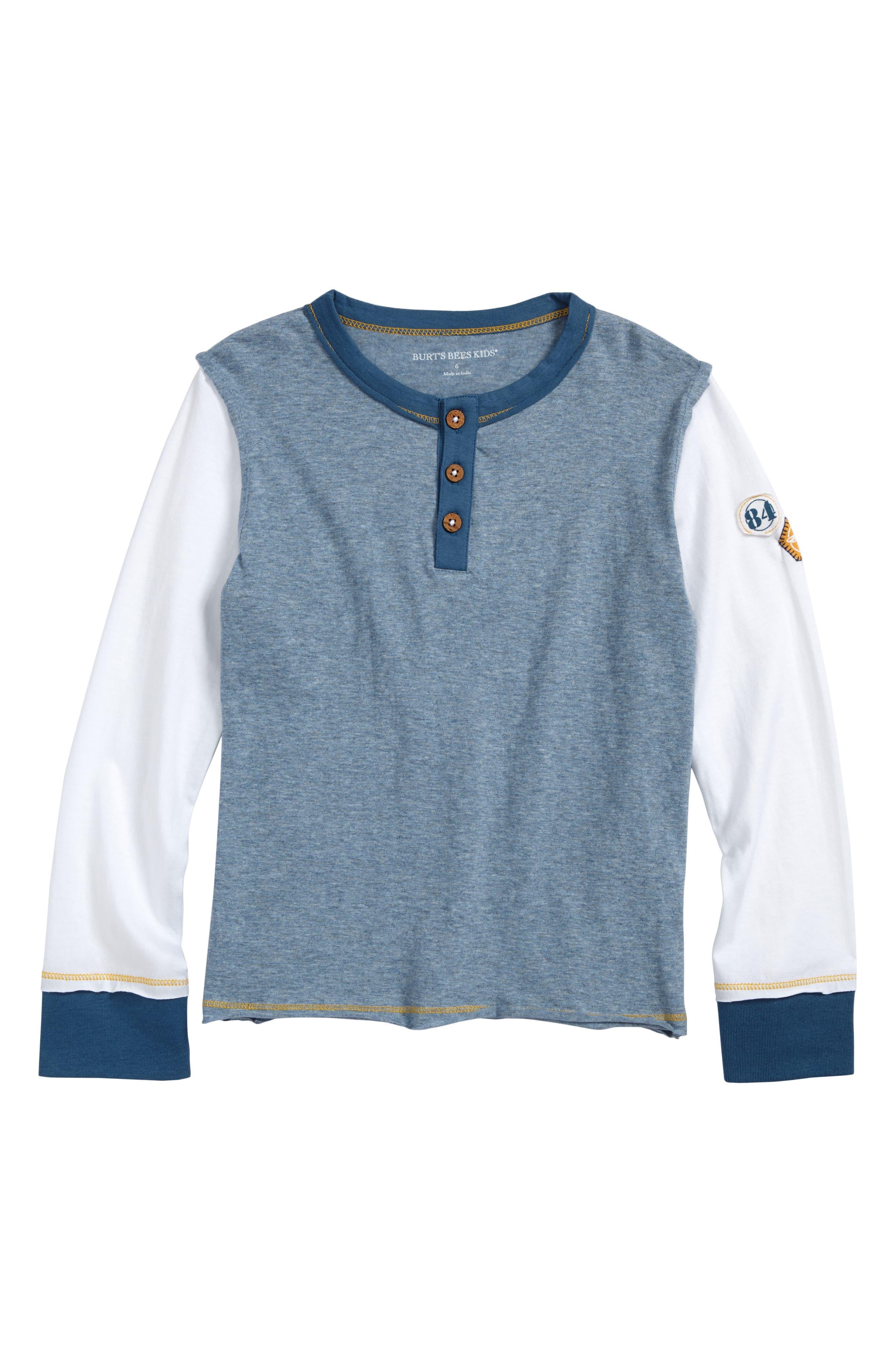 Organic Cotton Henley T-Shirt,                         Main,                         color, Twilight Heather