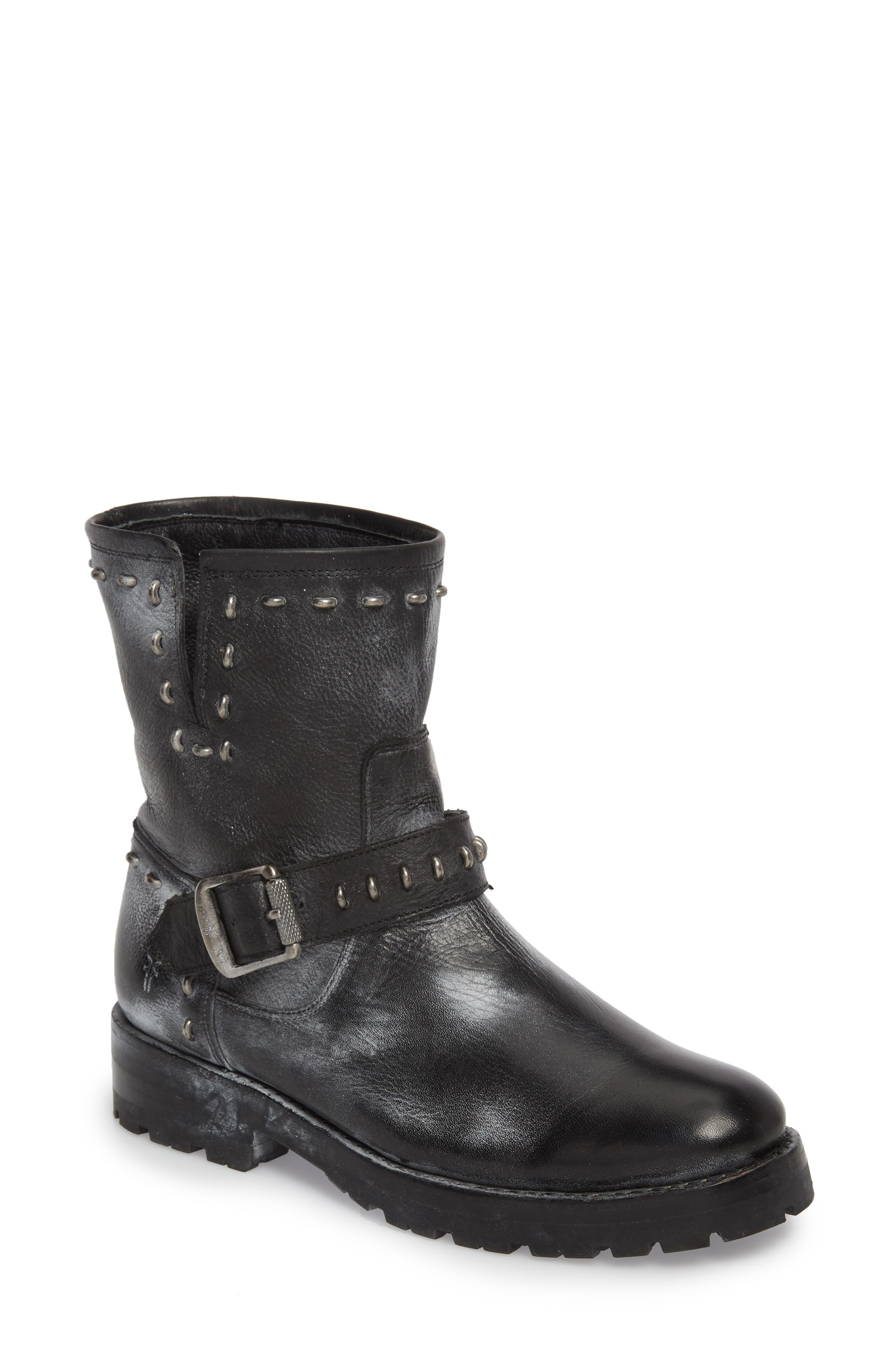 Frye Natalie Rebel Studded Engineer Boot (Women)