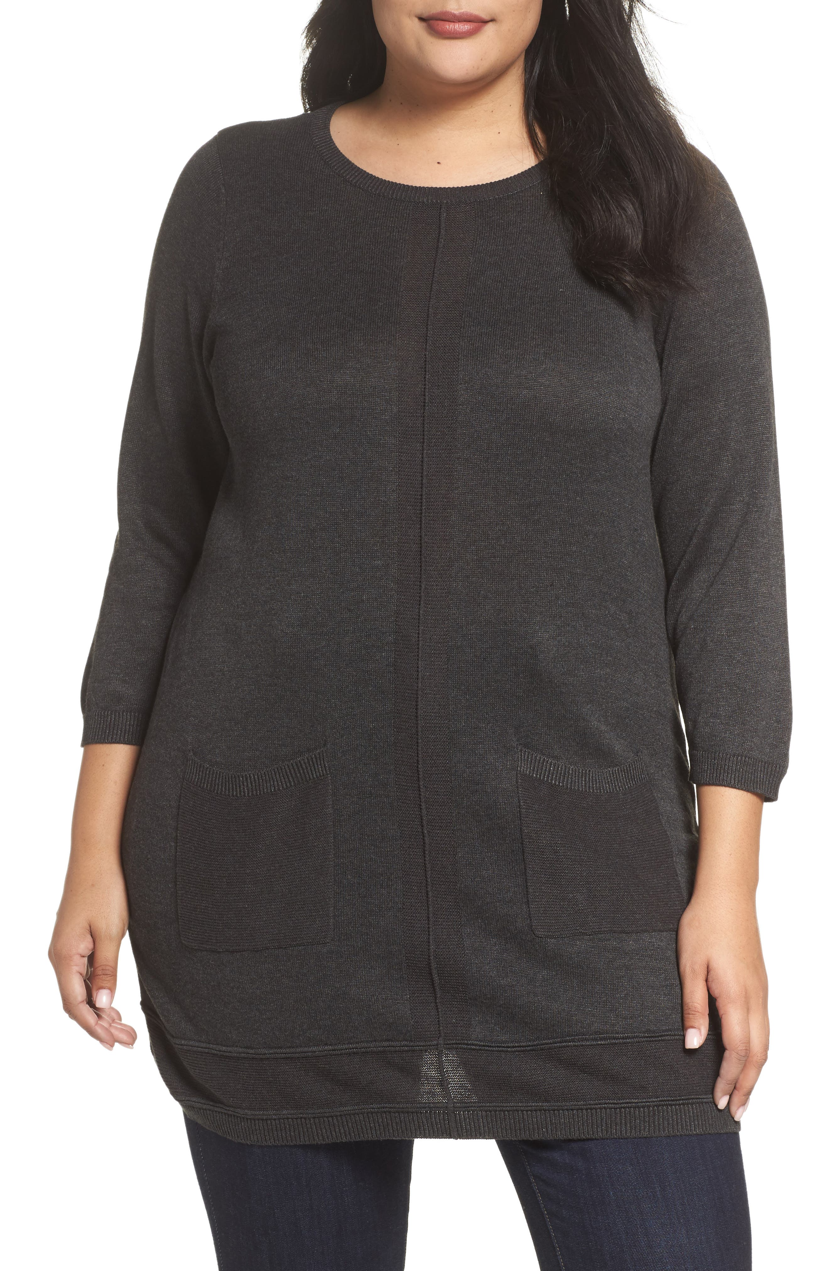 Pocket Tunic Sweater,                             Main thumbnail 1, color,                             Grey