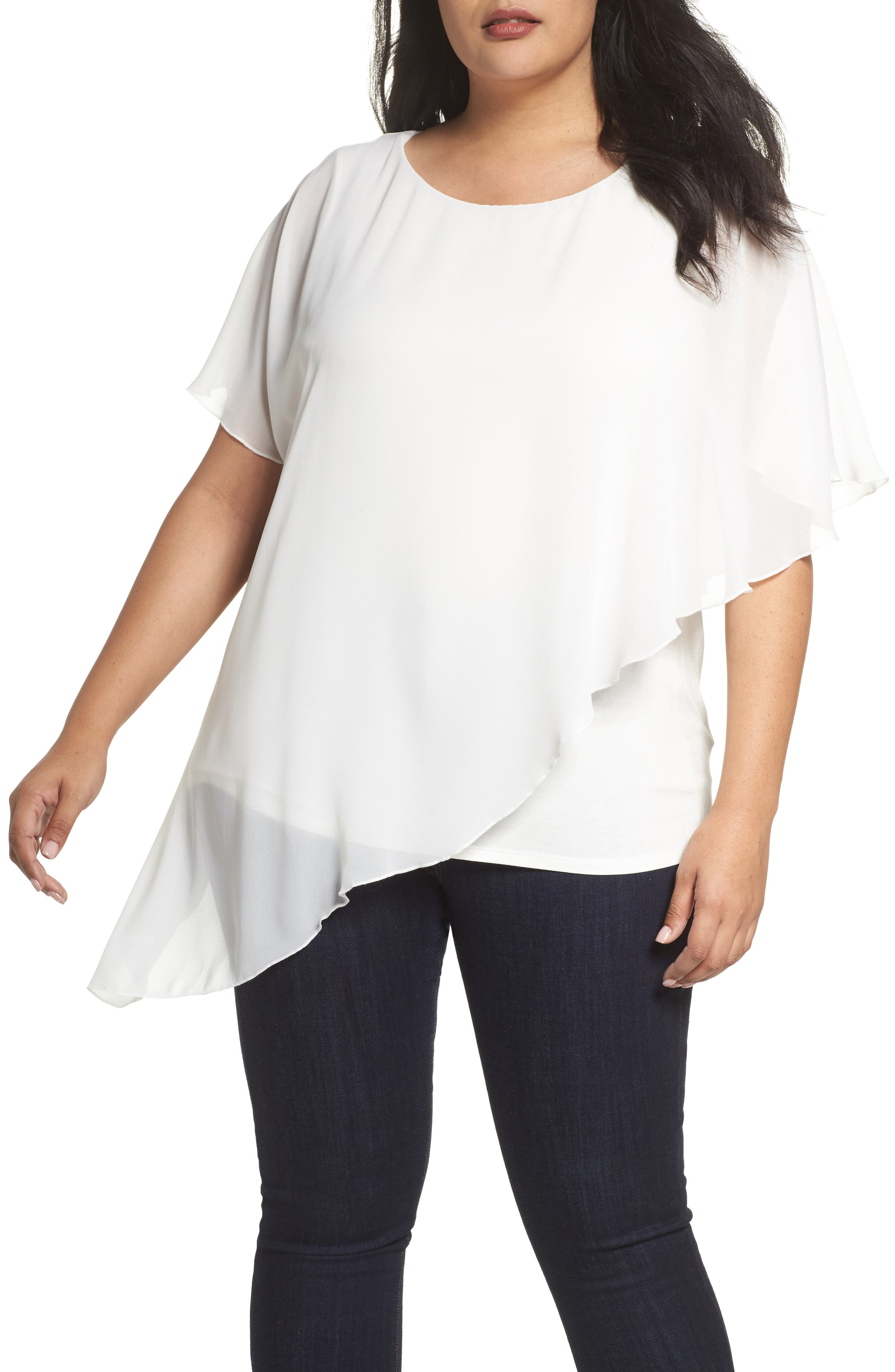 Alternate Image 1 Selected - Evans Asymmetrical Overlay Top (Plus Size)