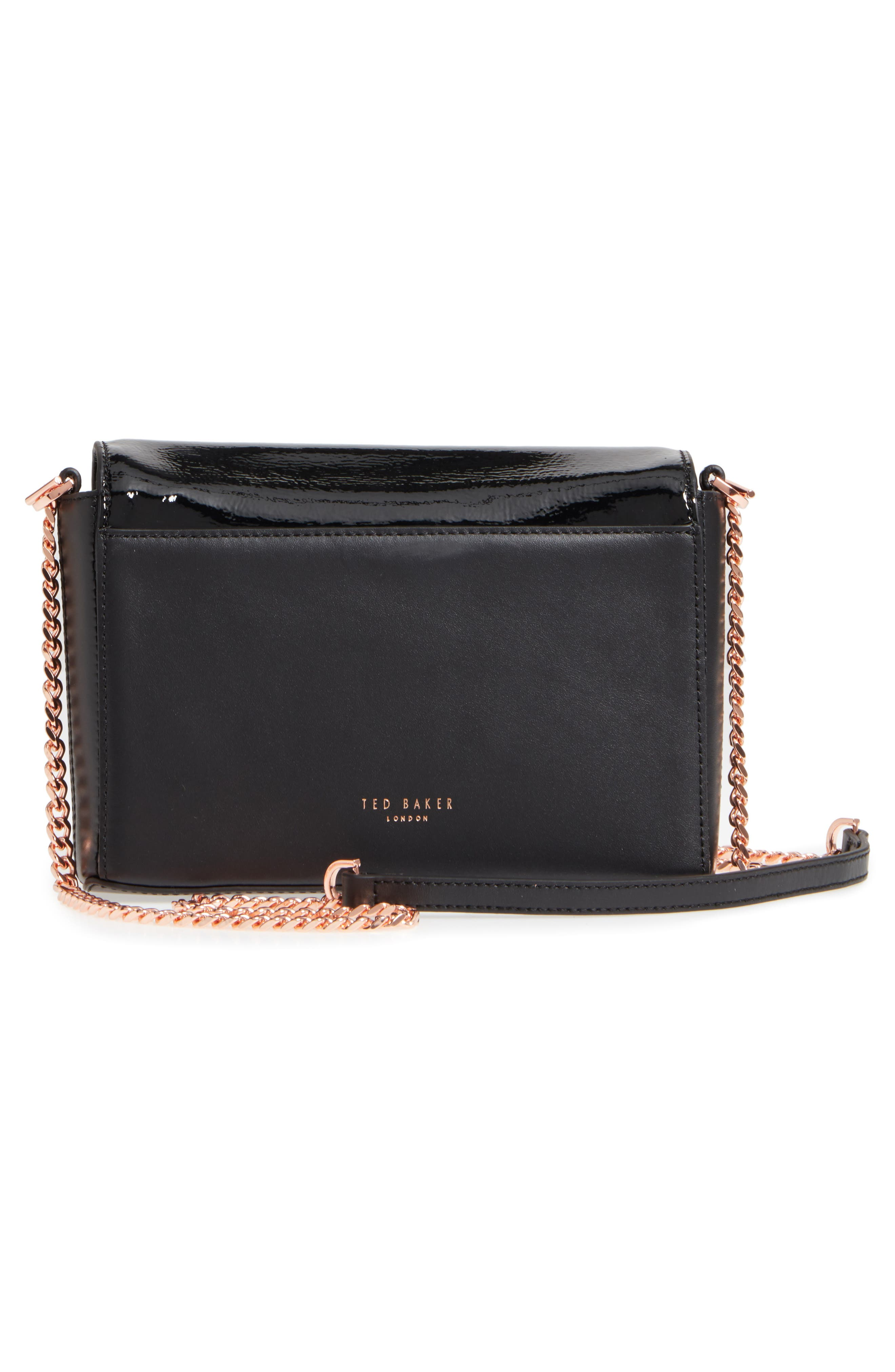 Peonyy Embellished Buckle Leather Clutch,                             Alternate thumbnail 2, color,                             Black