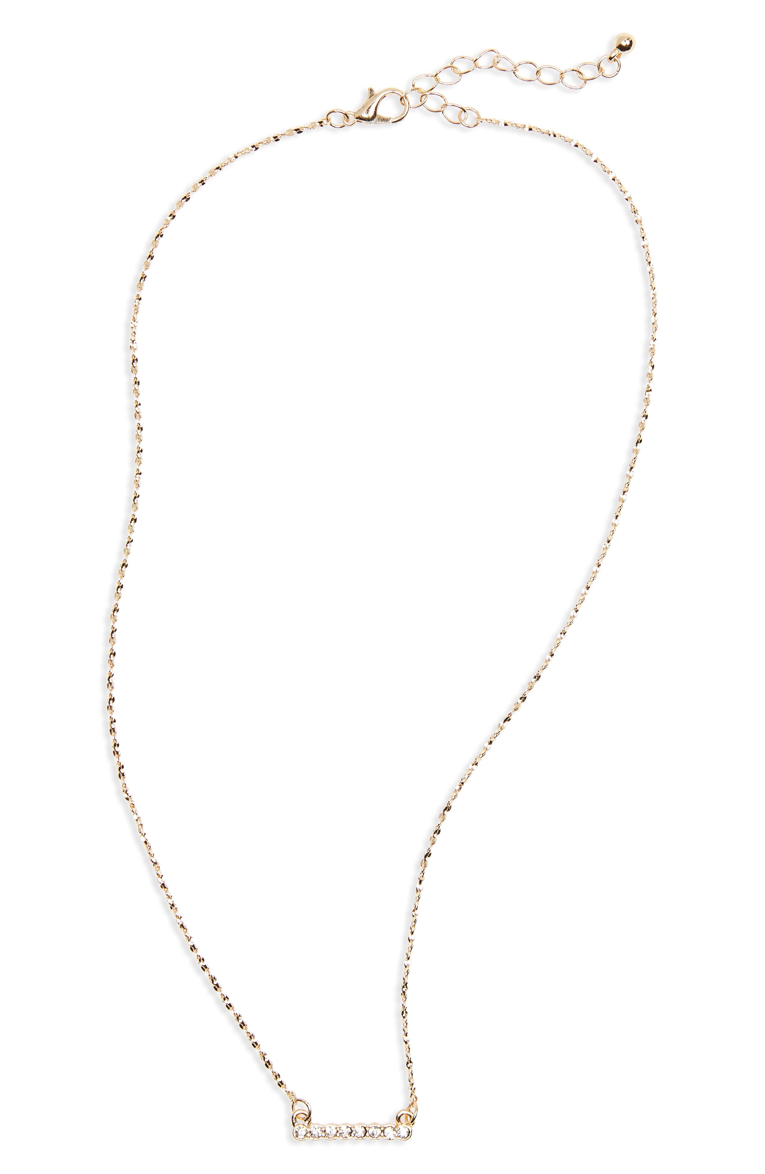 Dainty Crystal Bar Necklace,                             Main thumbnail 1, color,                             Gold/ Crystal