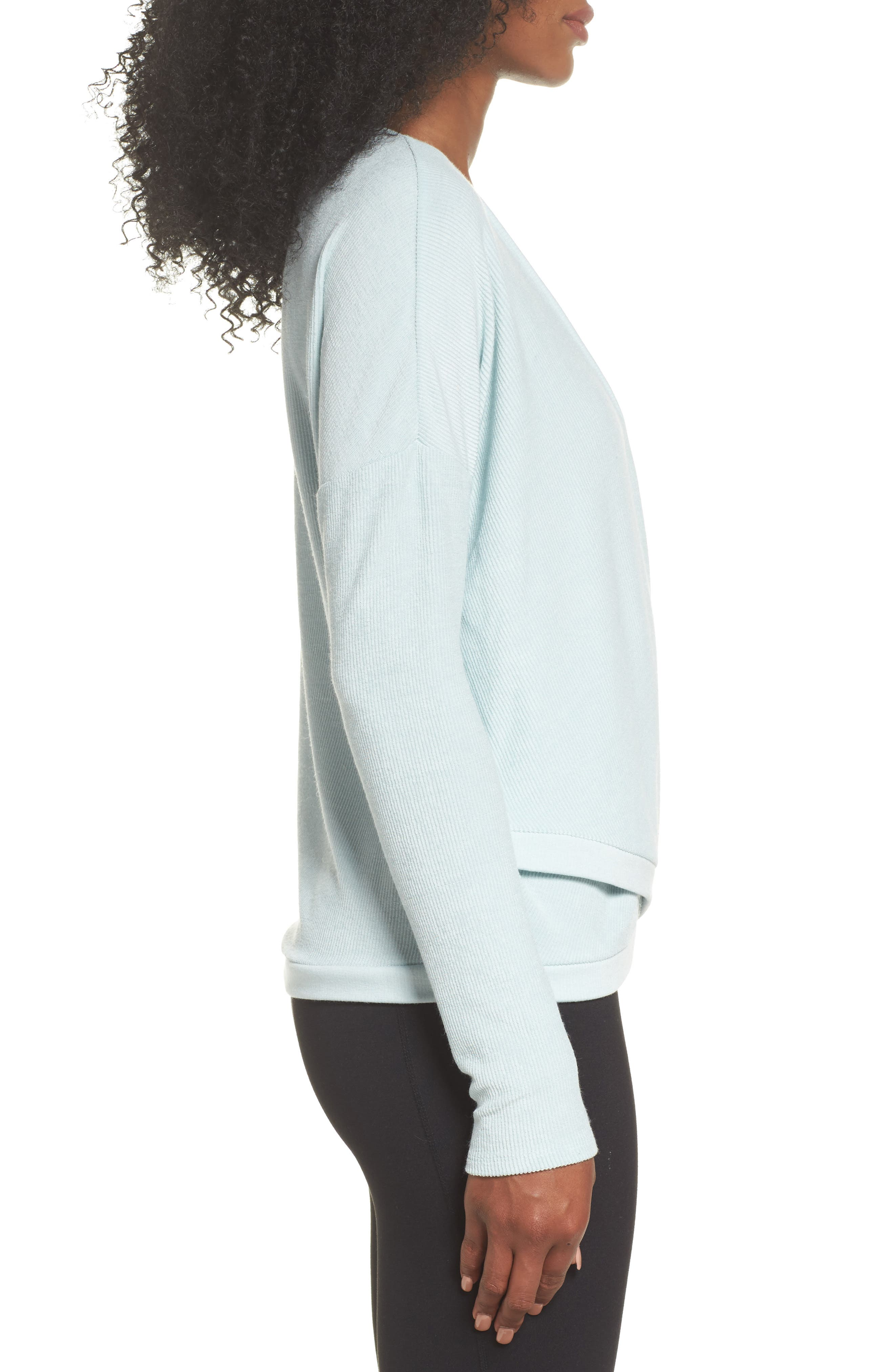 For the Love Faux Wrap Top,                             Alternate thumbnail 3, color,                             Teal Surf