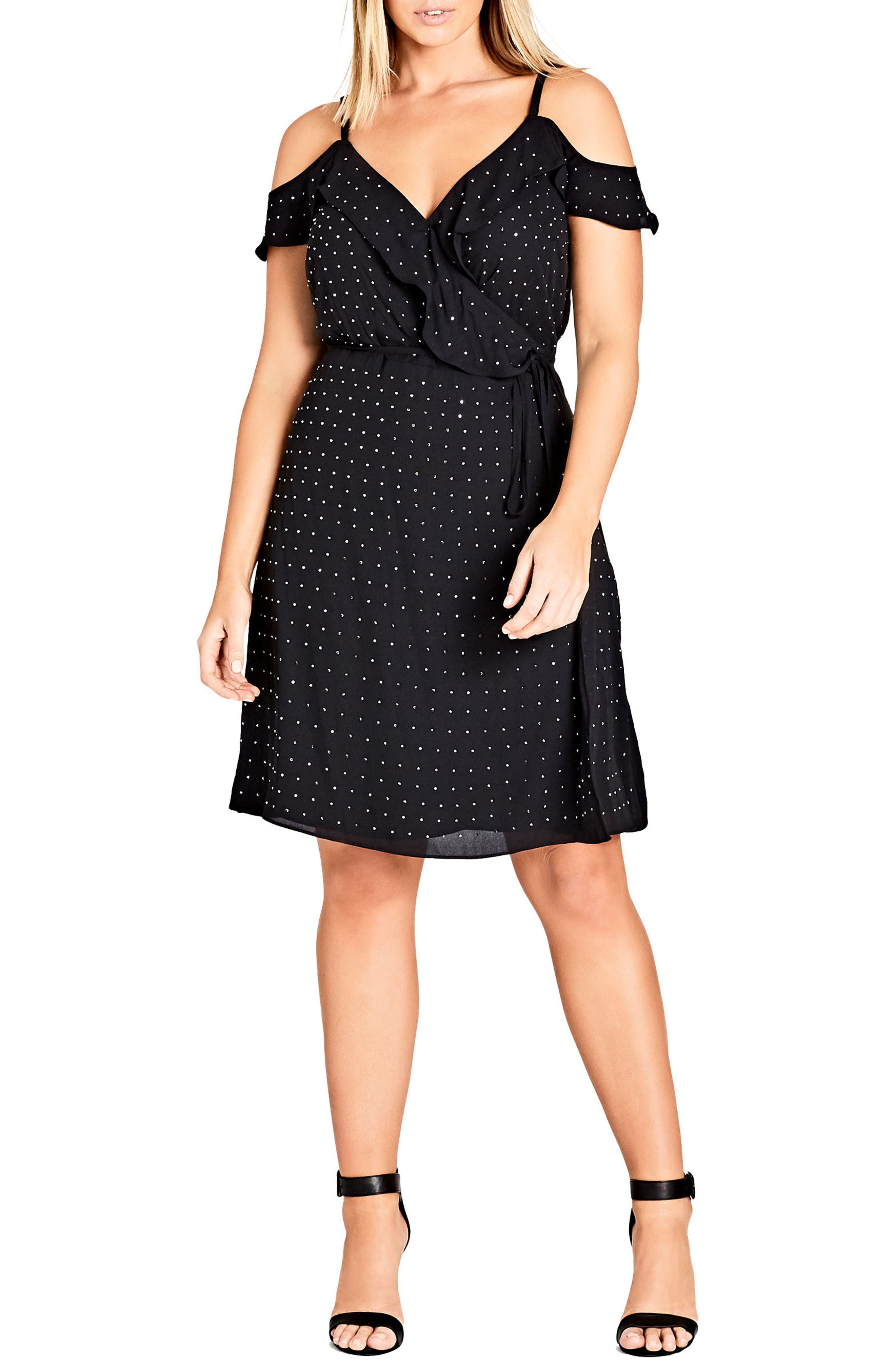 Flirty Bling Cold Shoulder Ruffle Fit & Flare Dress,                         Main,                         color, Black