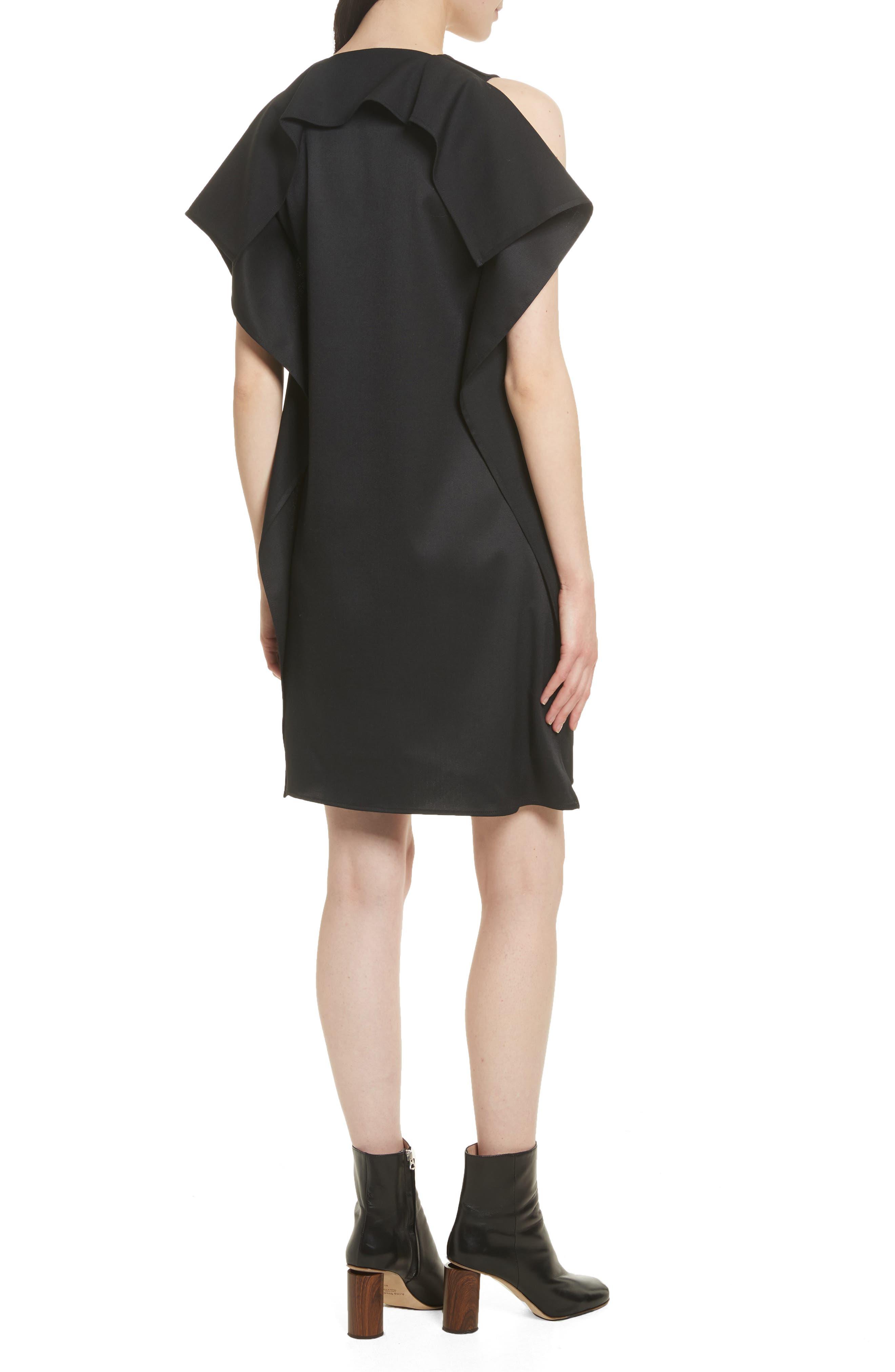 Ruffle Back Twill Dress,                             Alternate thumbnail 2, color,                             Black