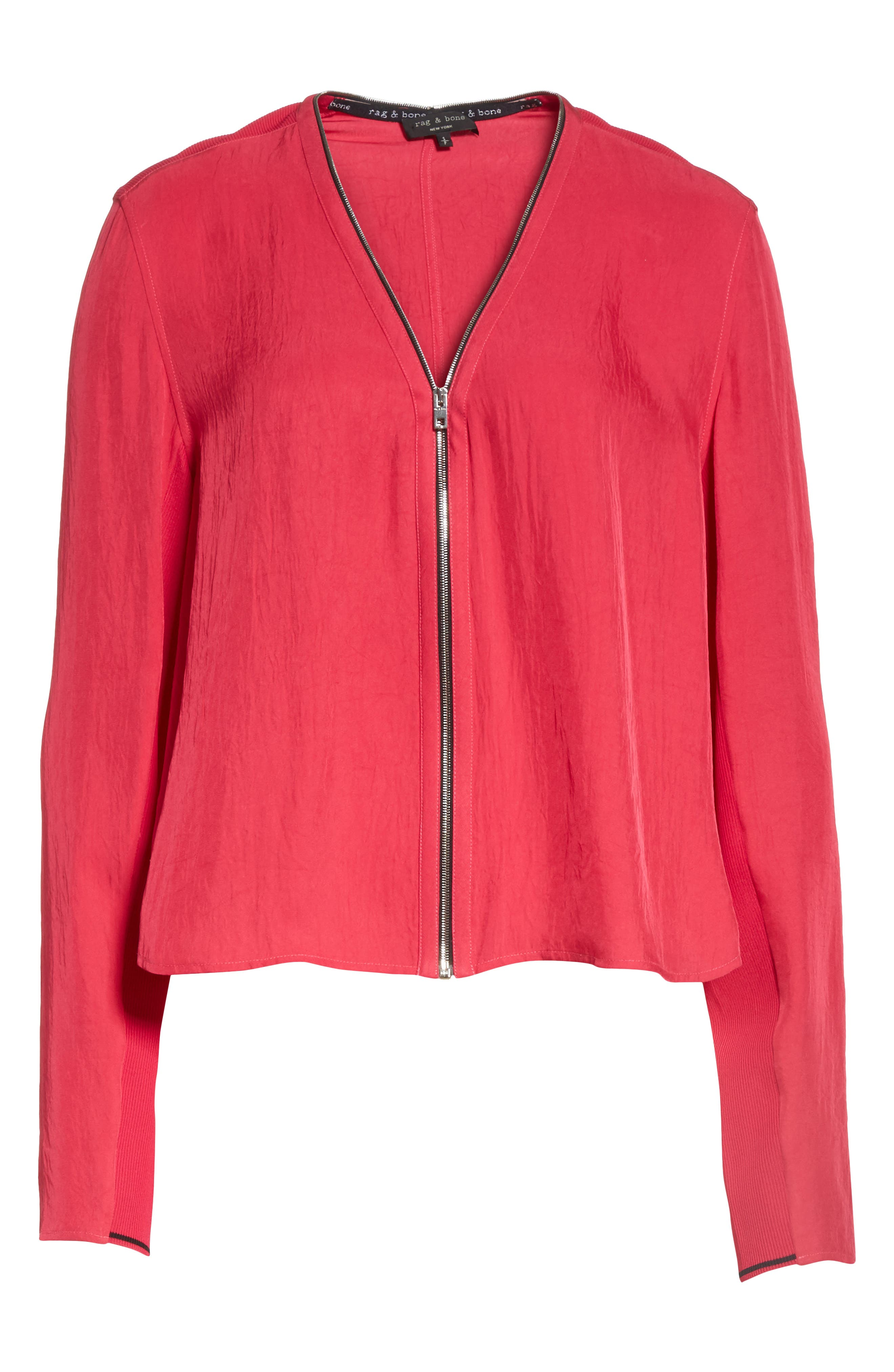 Vanessa Zip Front Blouse,                             Alternate thumbnail 6, color,                             Bright Rose